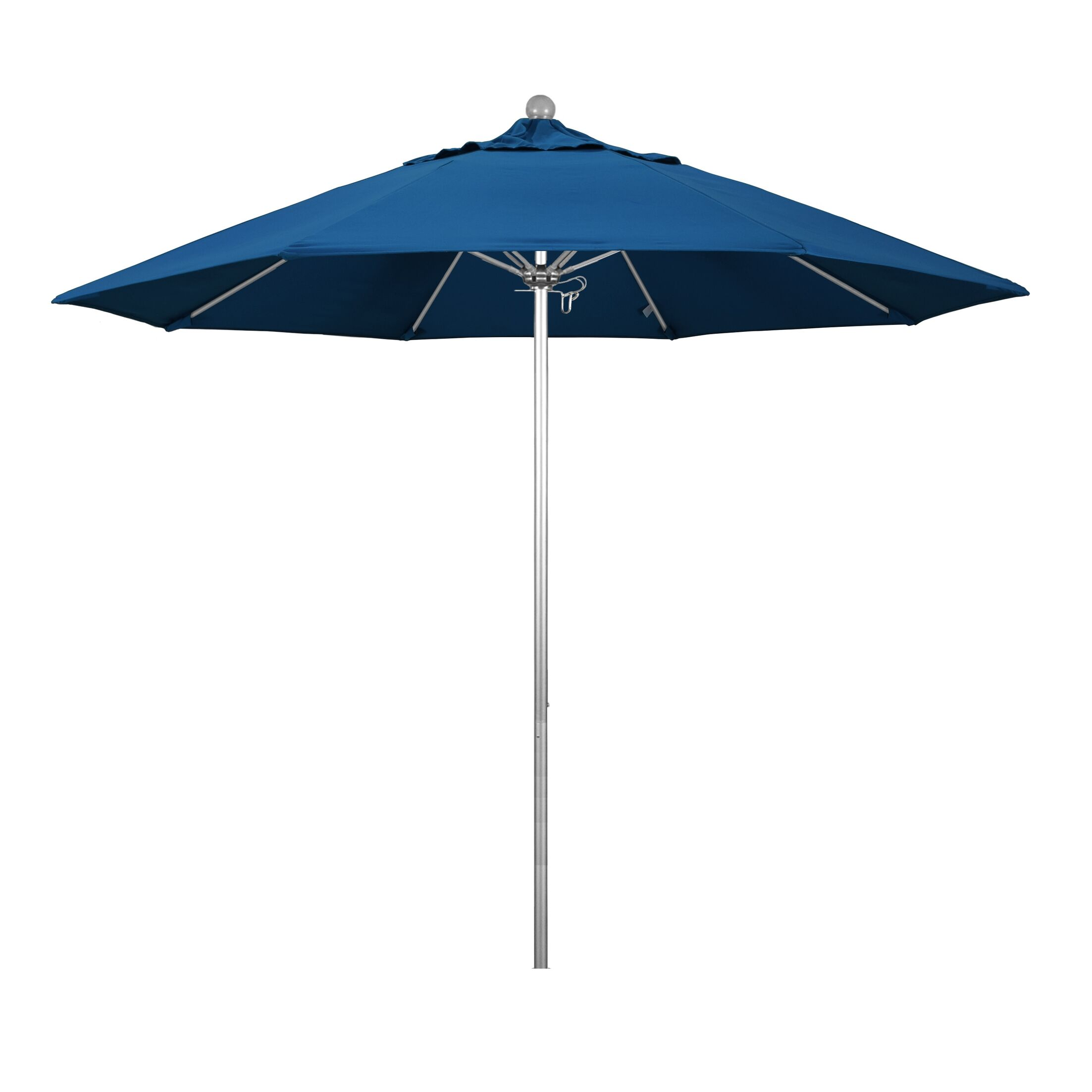 Phat Tommy Silver Anodized 9' Market Umbrella Fabric: Pacific Blue