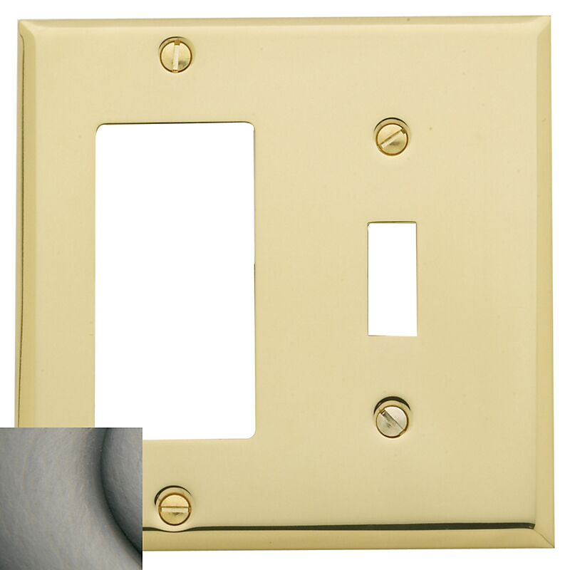 Classic Square Bevel Design Combination of Single GFCI and Toggle Switch Plate Color: Antique Nickel