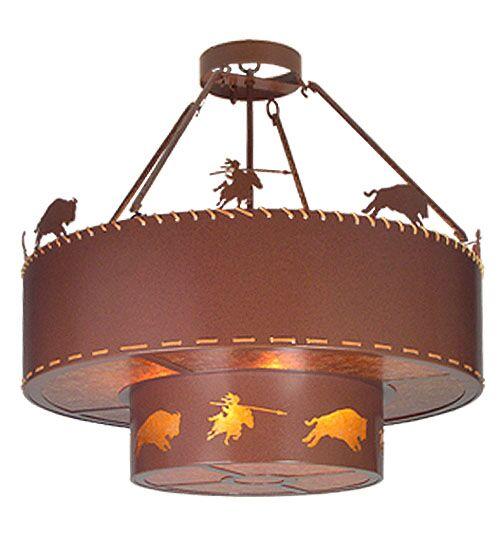 Buffalo Hunt 8-Light Drum Chandelier