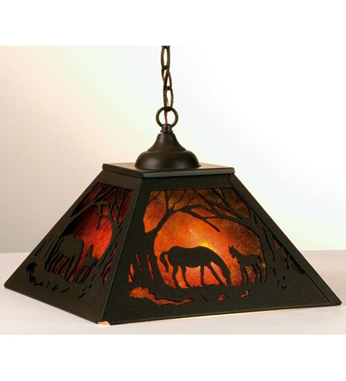 Mare & Foal at Dawn 2-Light Square/Rectangle Chandelier