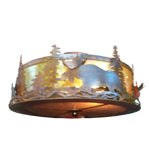 Moose at Dusk 2-Light Flush Mount