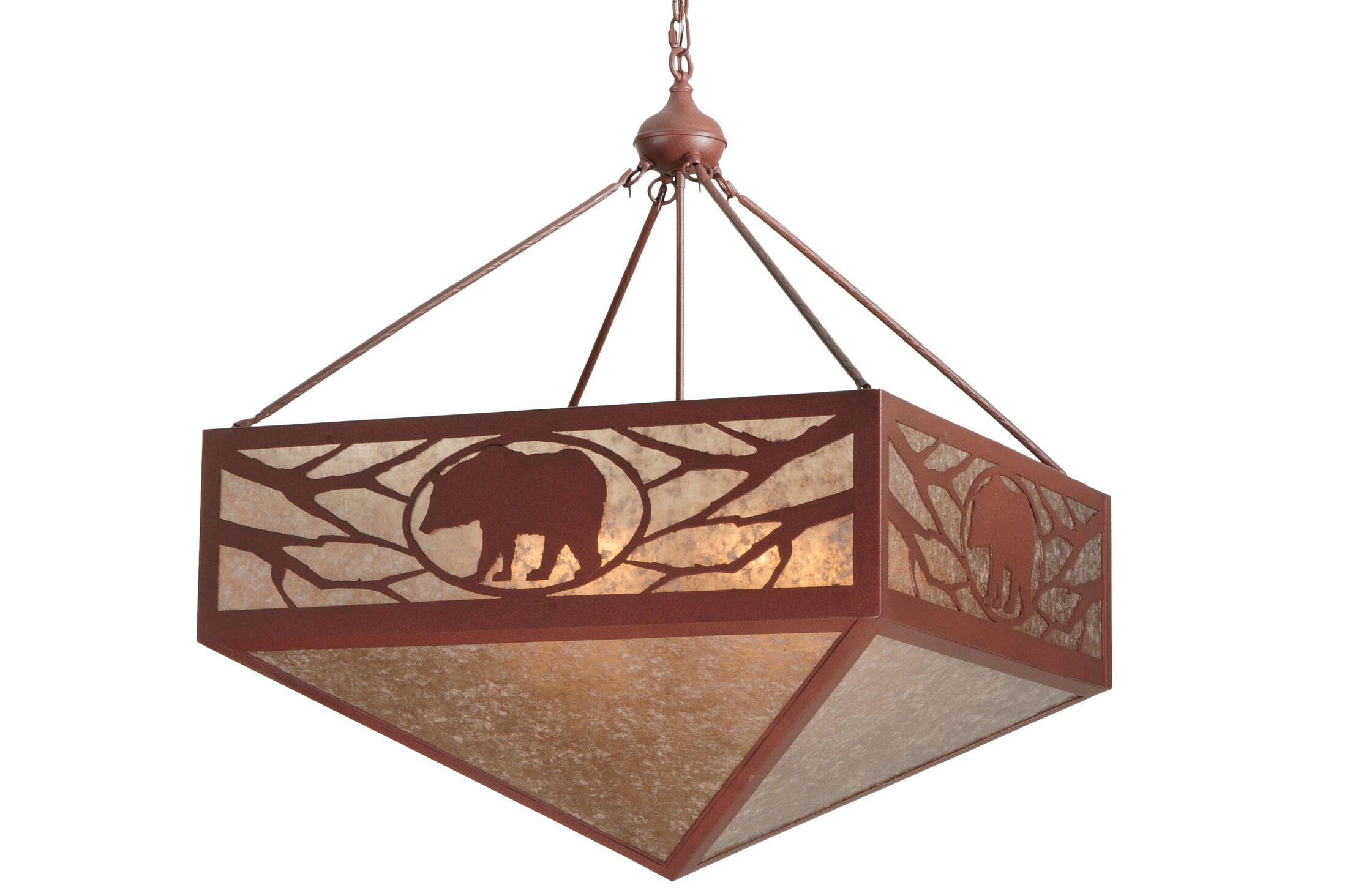 Greenbriar Oak Lone Bear 6-Light Bowl Pendant