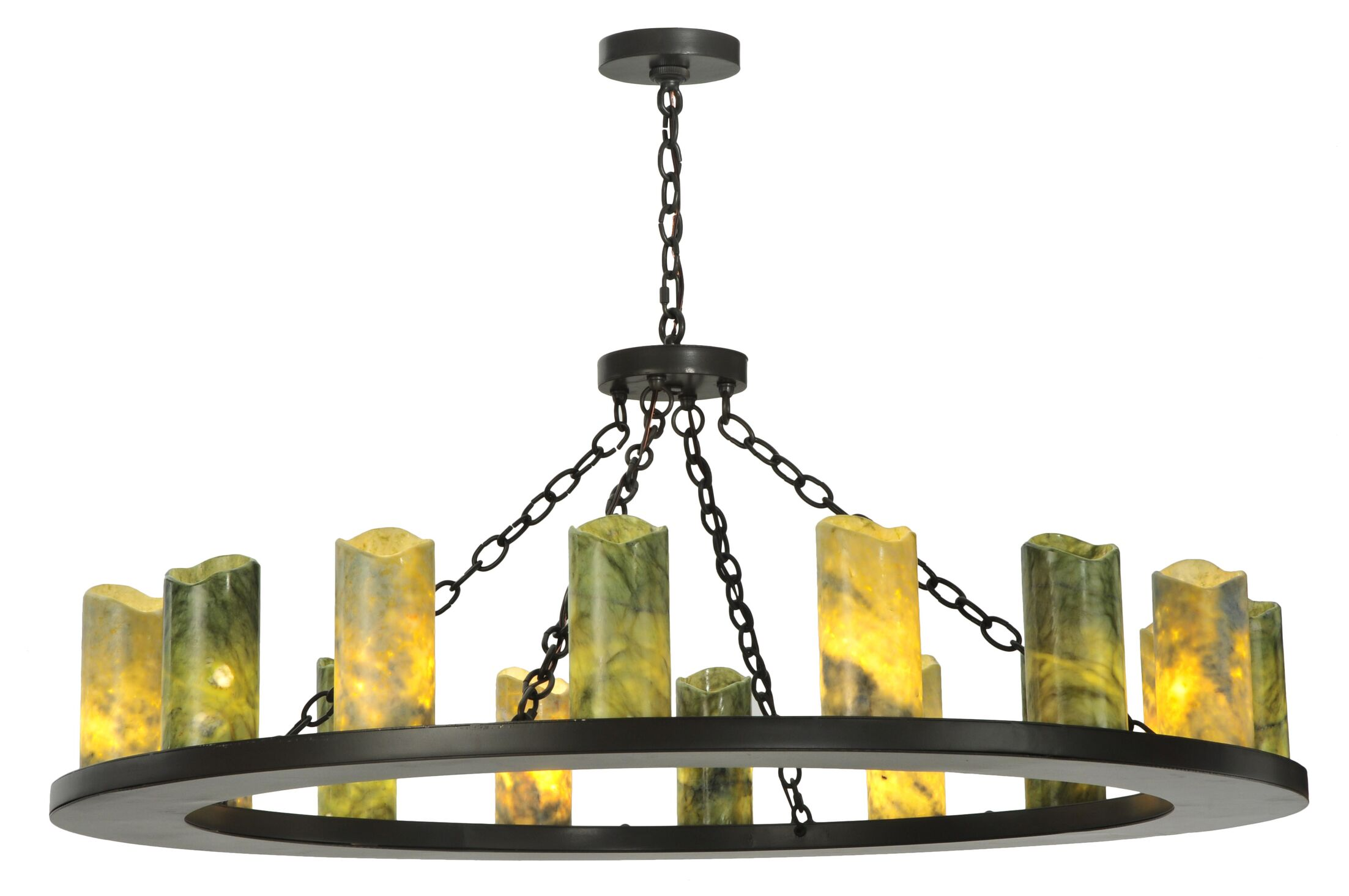 Greenbriar Oak 16-Light Wagon Wheel Chandelier