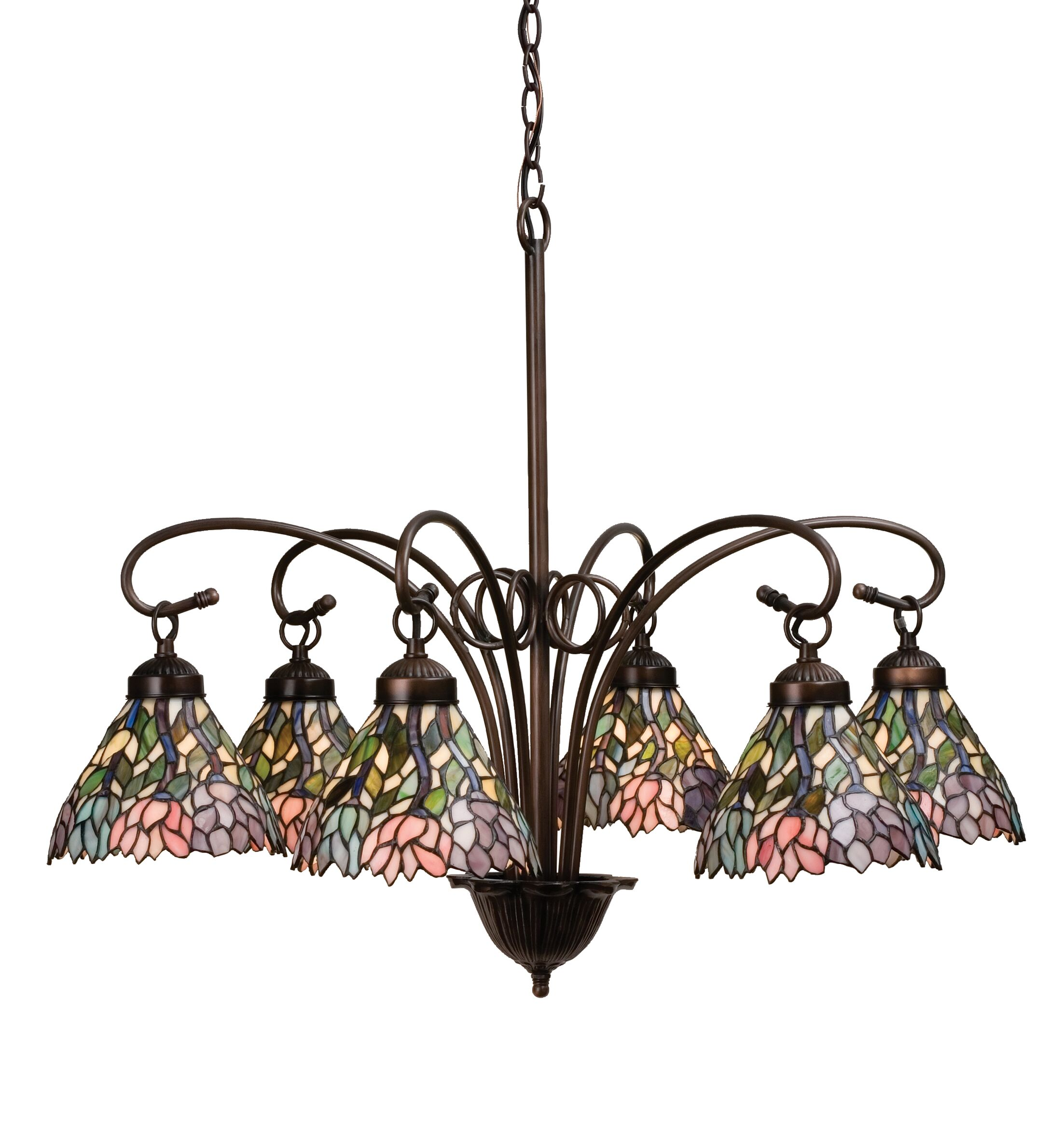 Victorian Tiffany Wisteria 6-Light Shaded Chandelier