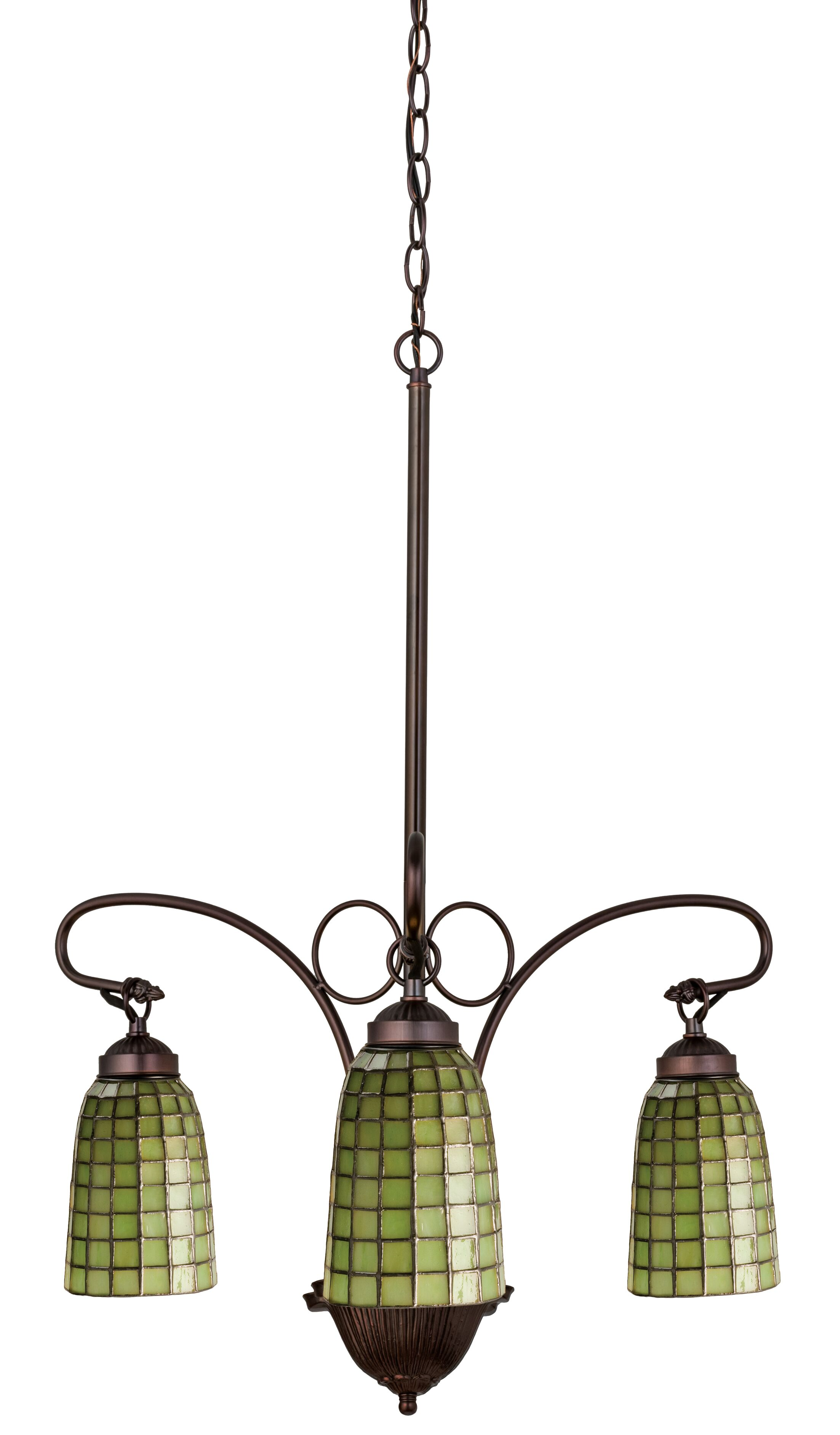 Victorian Tiffany Terra Verde 3-Light Shaded Chandelier