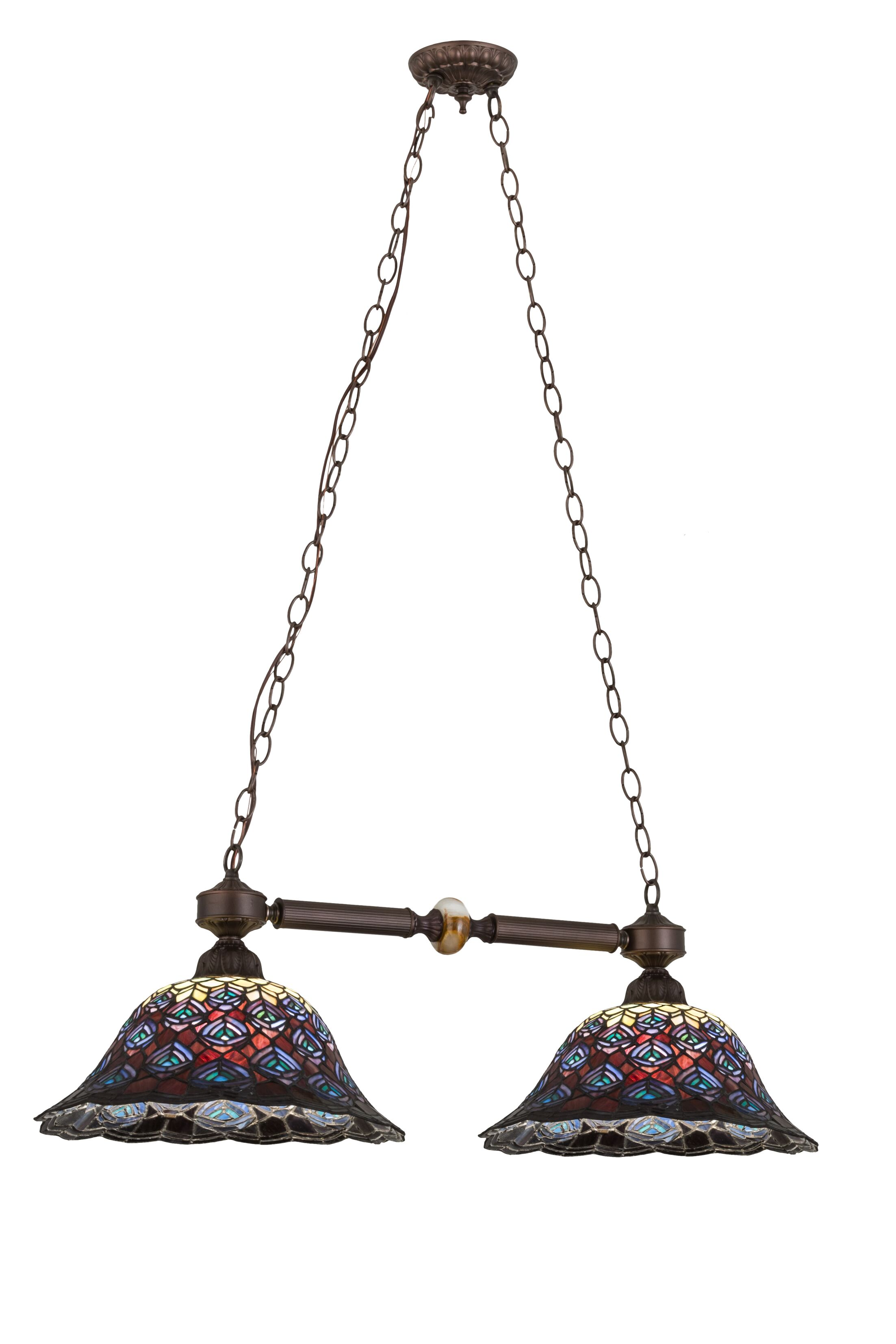Tiffany Peacock Feather 2-Light Pool Table Light