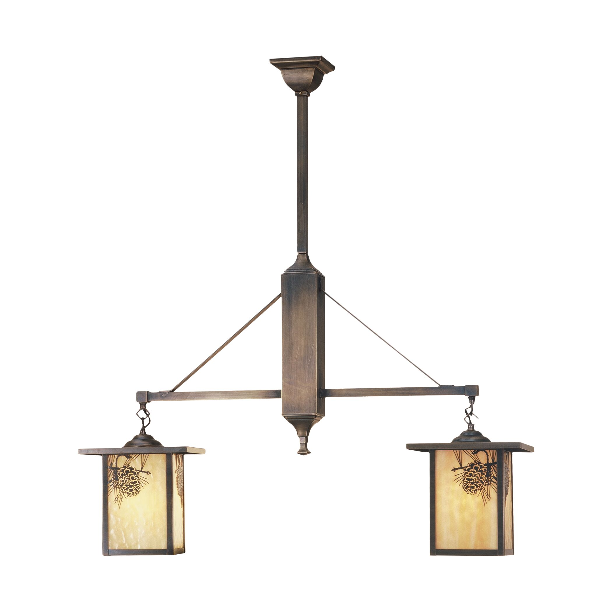 Pine cone laden branches accent this handsome American craftsman lantern style two light chandelier. The fixture, handcrafted in the USA by Meyda artisans, has an antique finish and has beige glass panels. Features: -Handcrafted.-UL and cUL listed.-Ma...