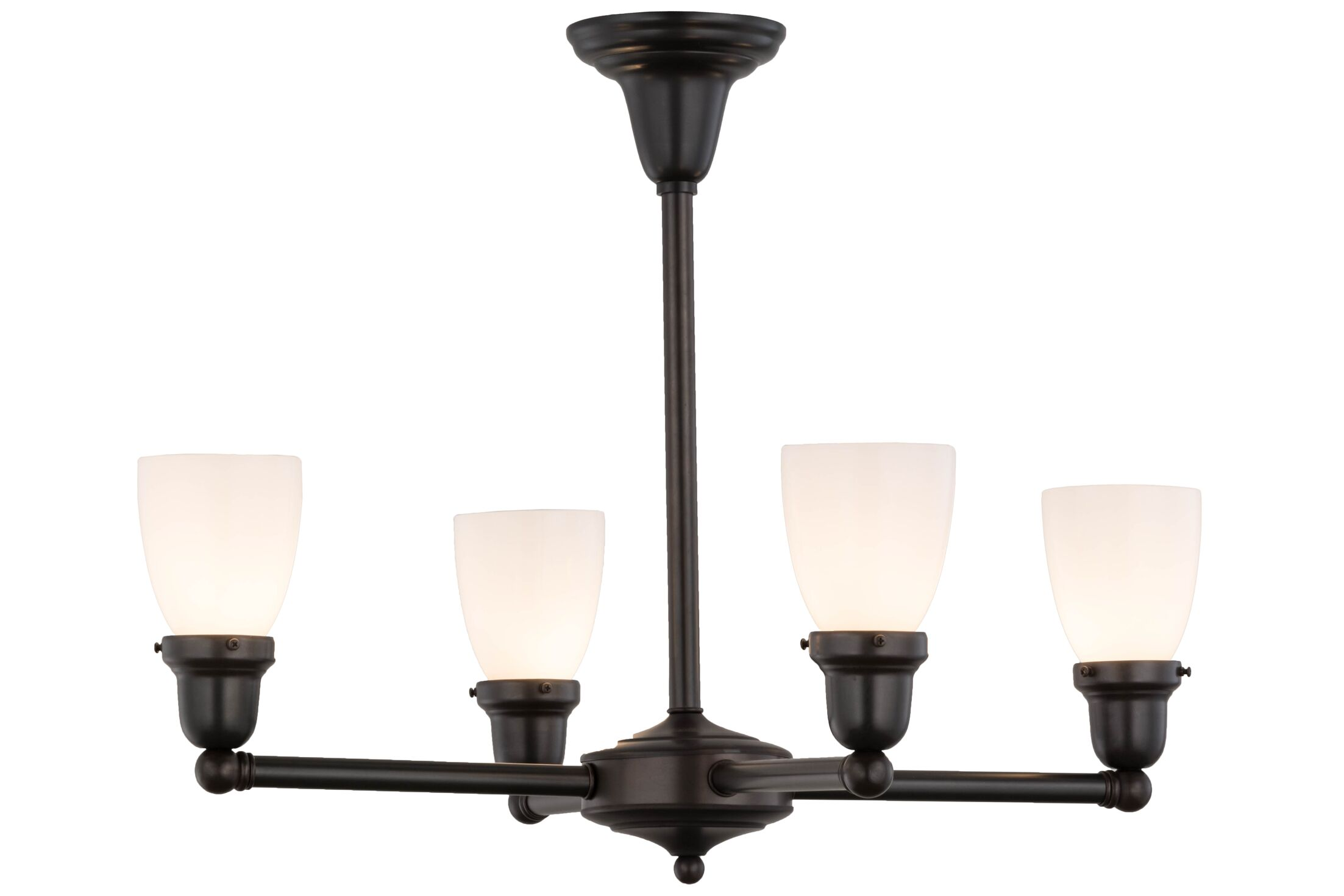 Revival Oyster Bay Goblet 4-Light Shaded Chandelier Finish: Craftsman Brown