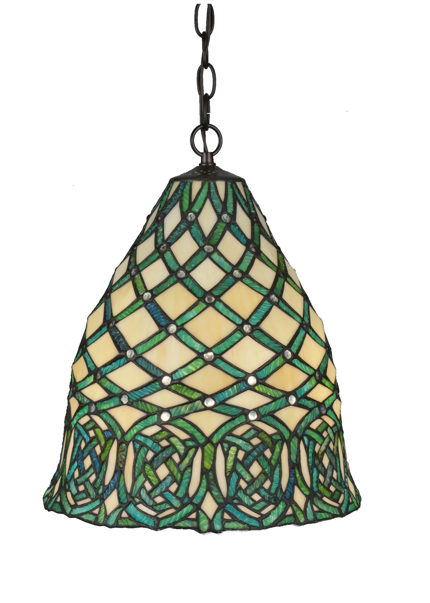 Jeweled Knot 3-Light Bowl Pendant