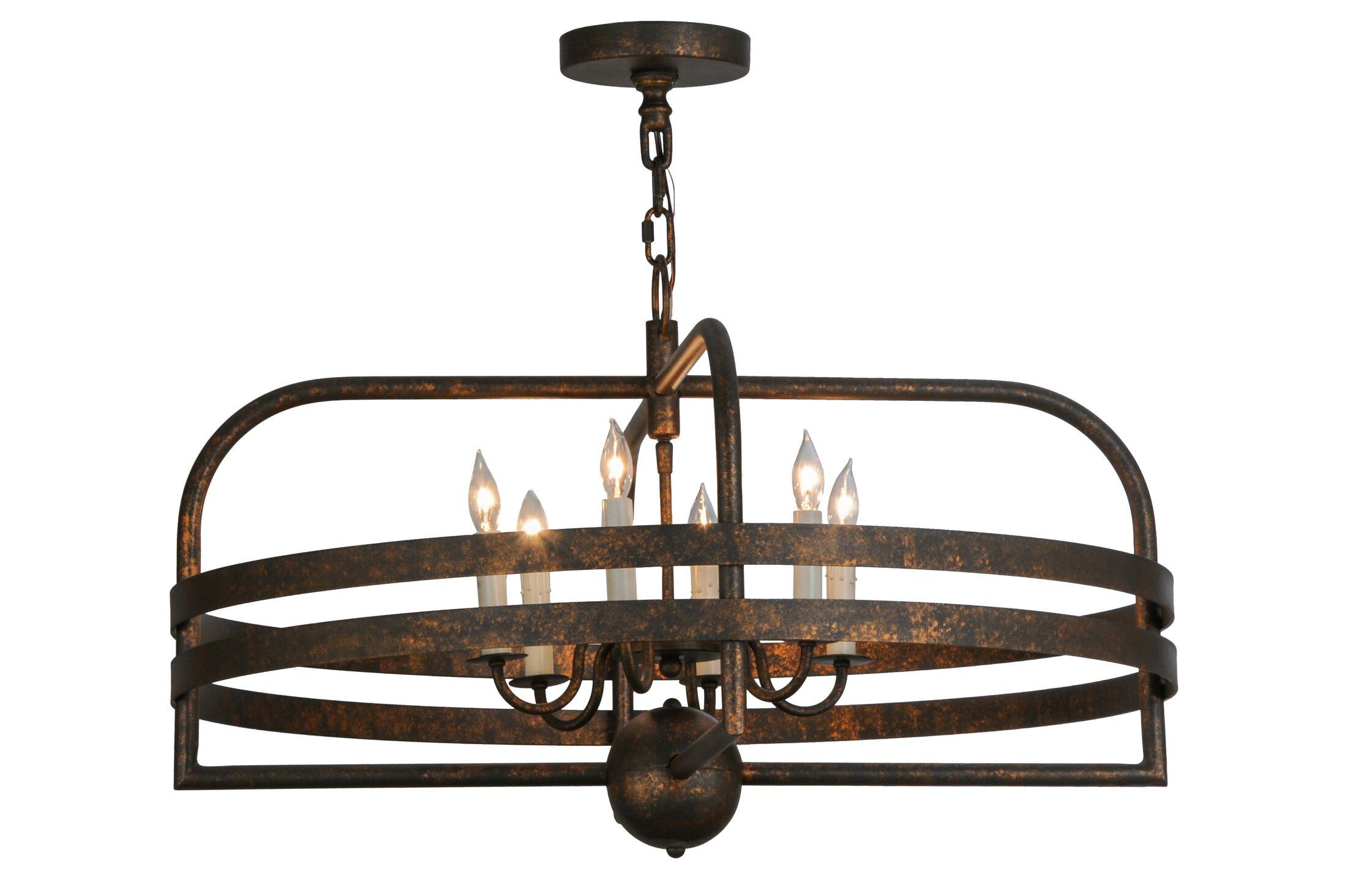 Greenbriar Oak 6-Light Lantern Pendant