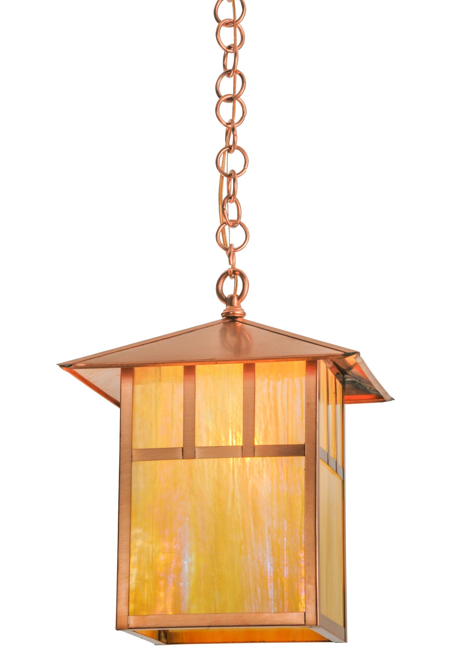 Greenbriar Oak Seneca Double Bar Mission 1-Light Lantern Pendant