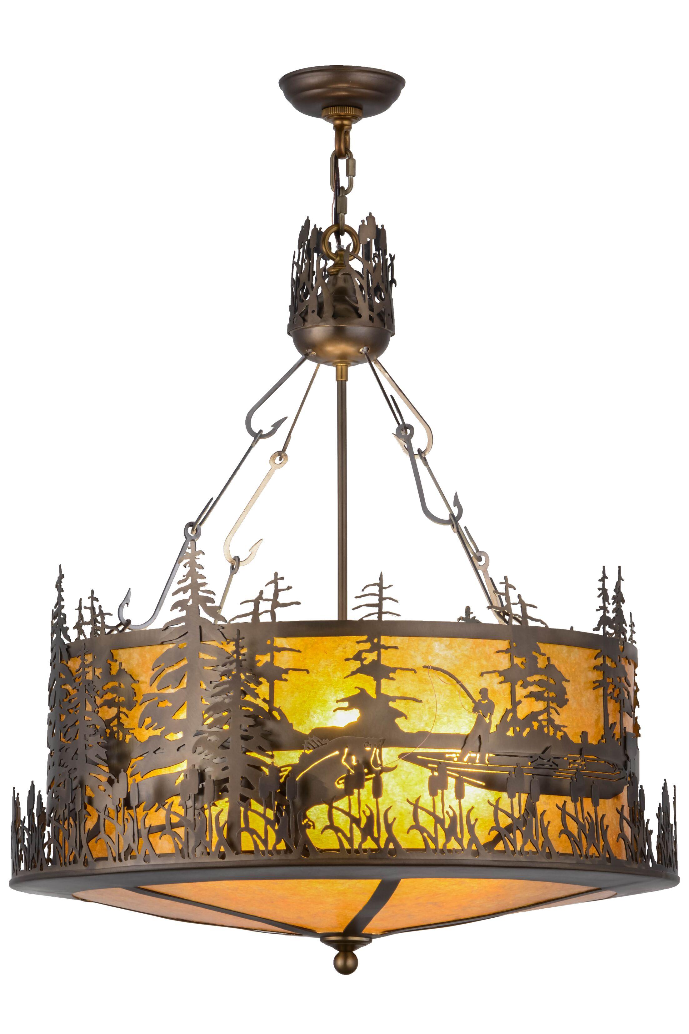 Greenbriar Oak 4-Light Bowl Pendant