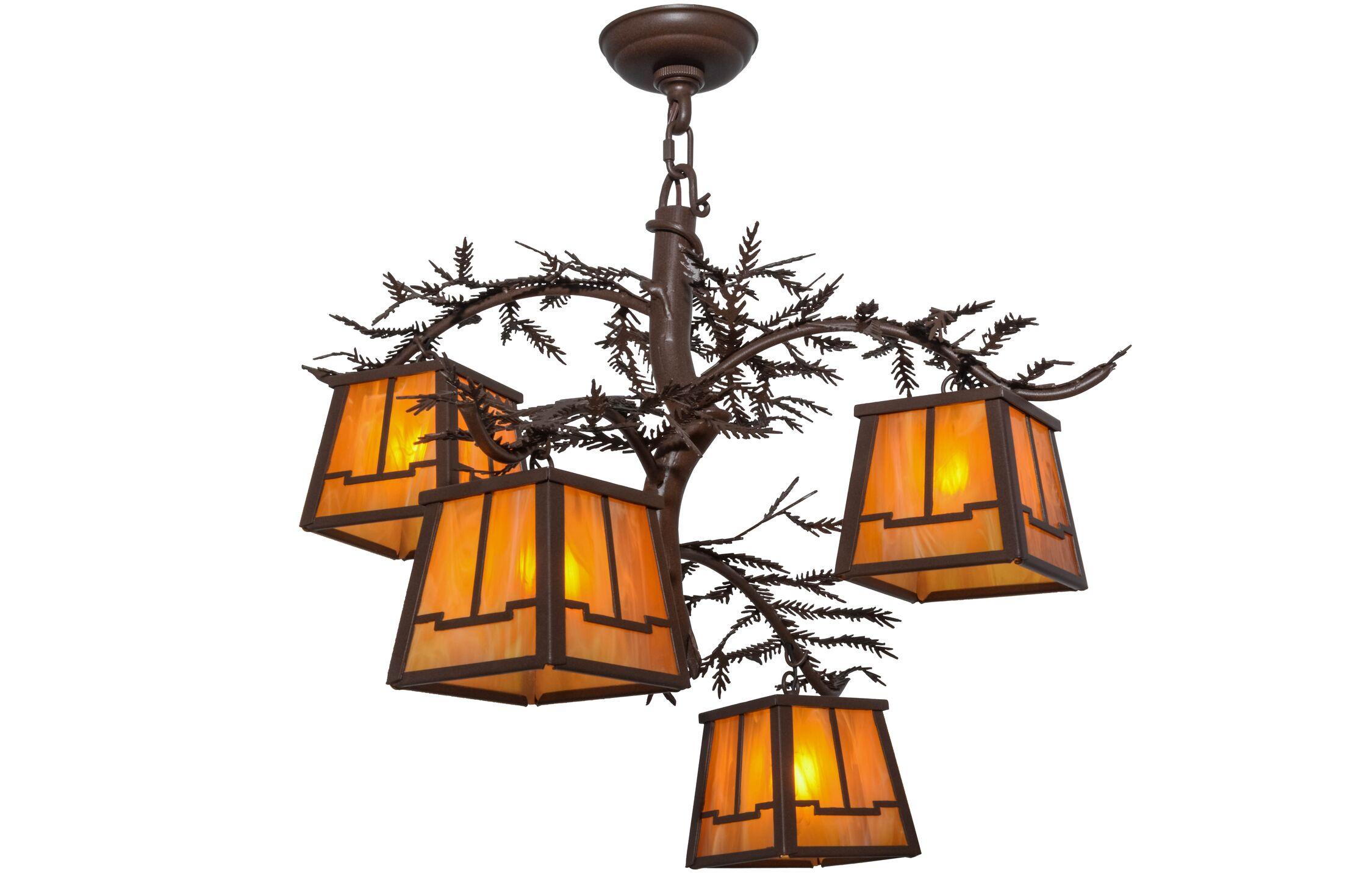Greenbriar Oak 4-Light Shaded Chandelier