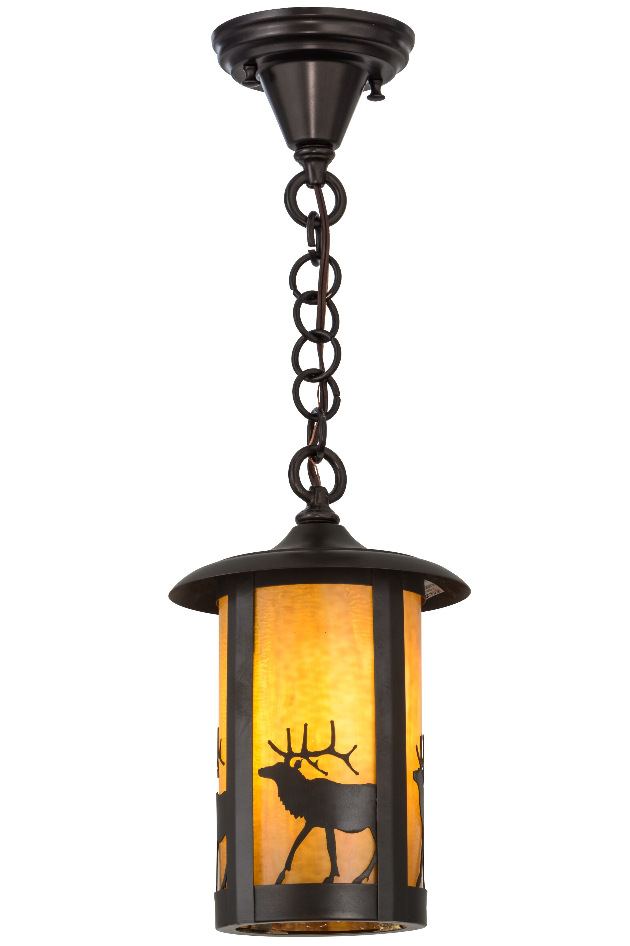 Greenbriar Oak Fulton Lone Elk 1-Light Lantern Pendant