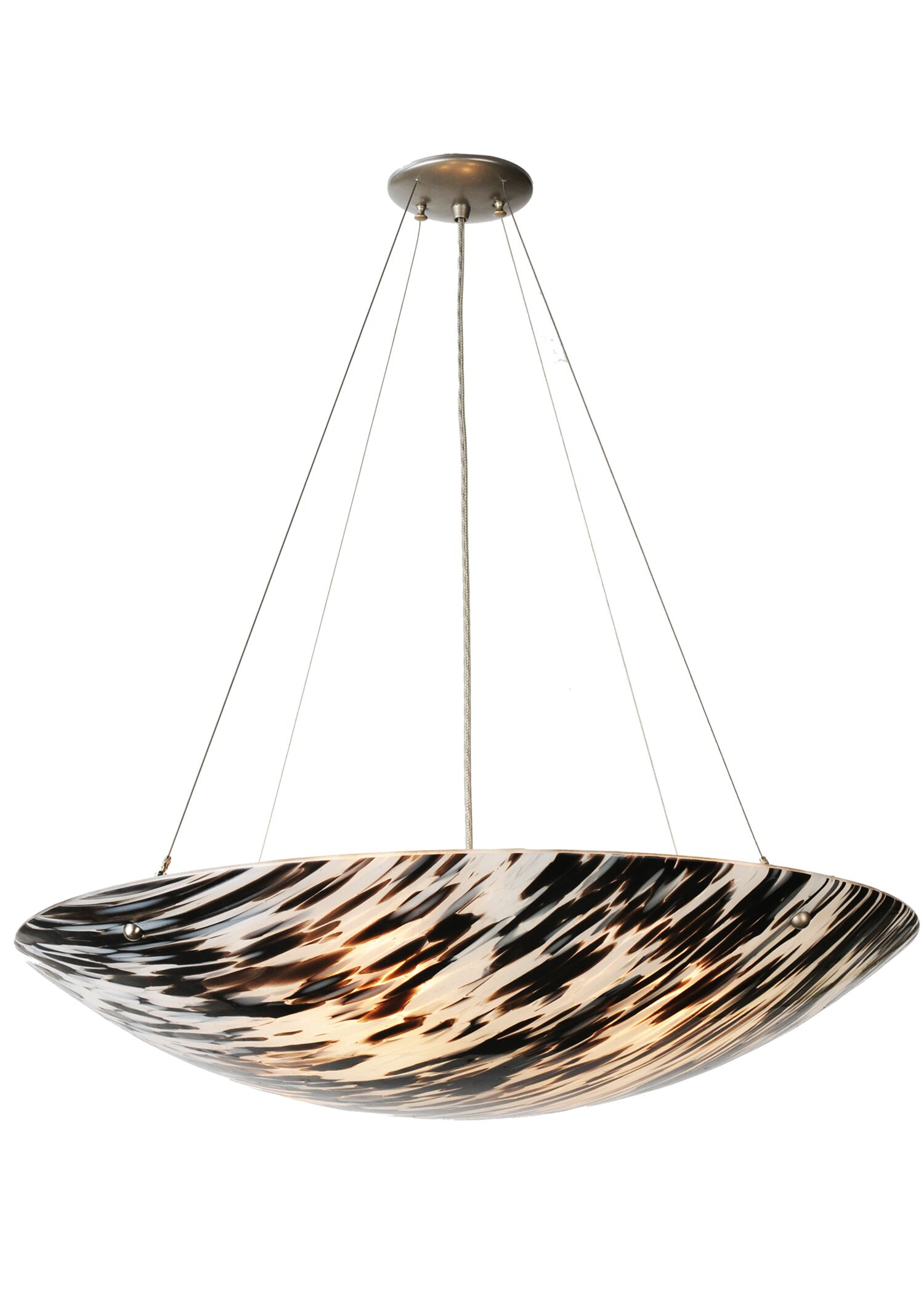 La Perla Nera Fused Glass 4-Light Bowl Pendant
