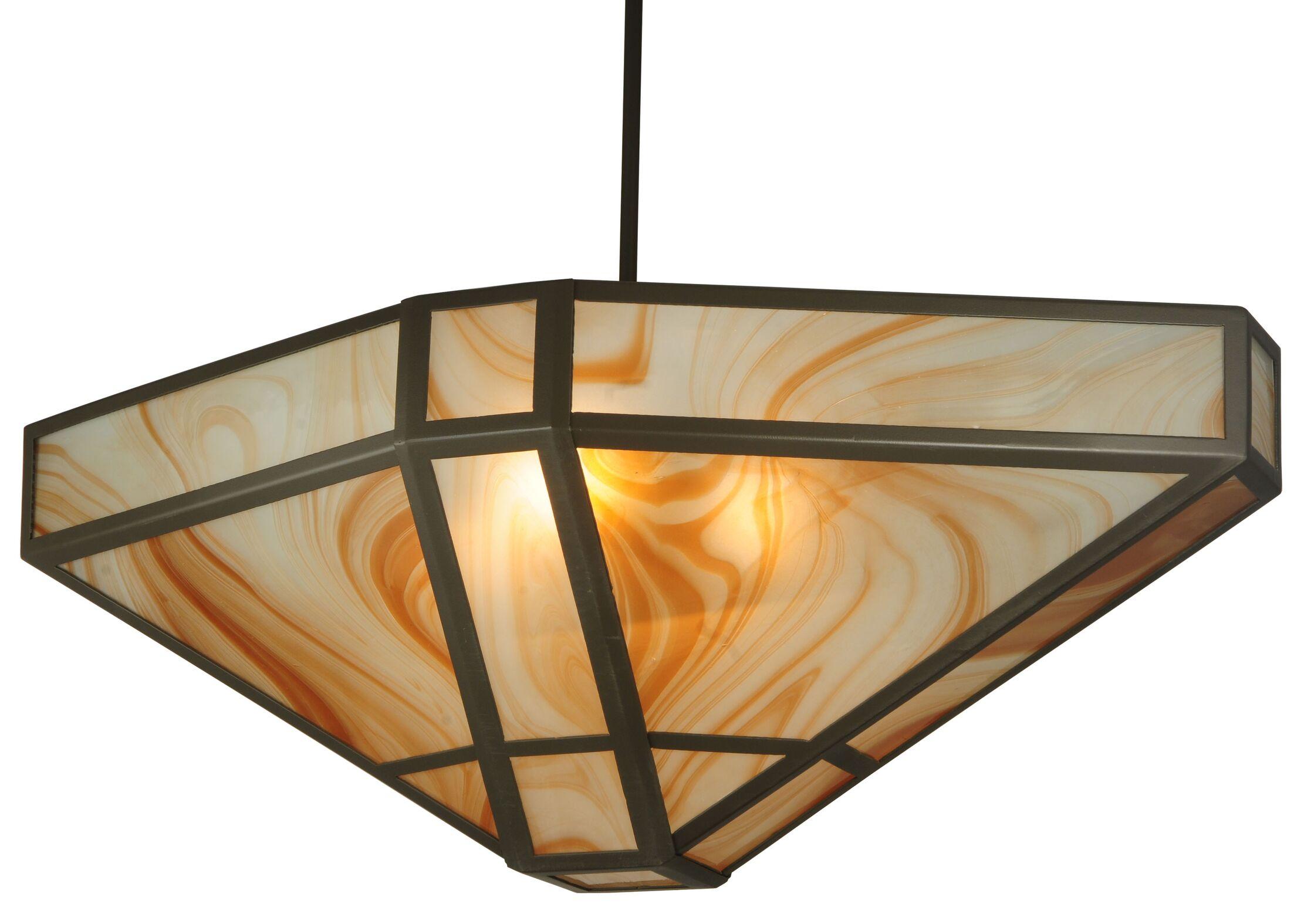 Geometric Cognac Swirl 4-Light Bowl Pendant