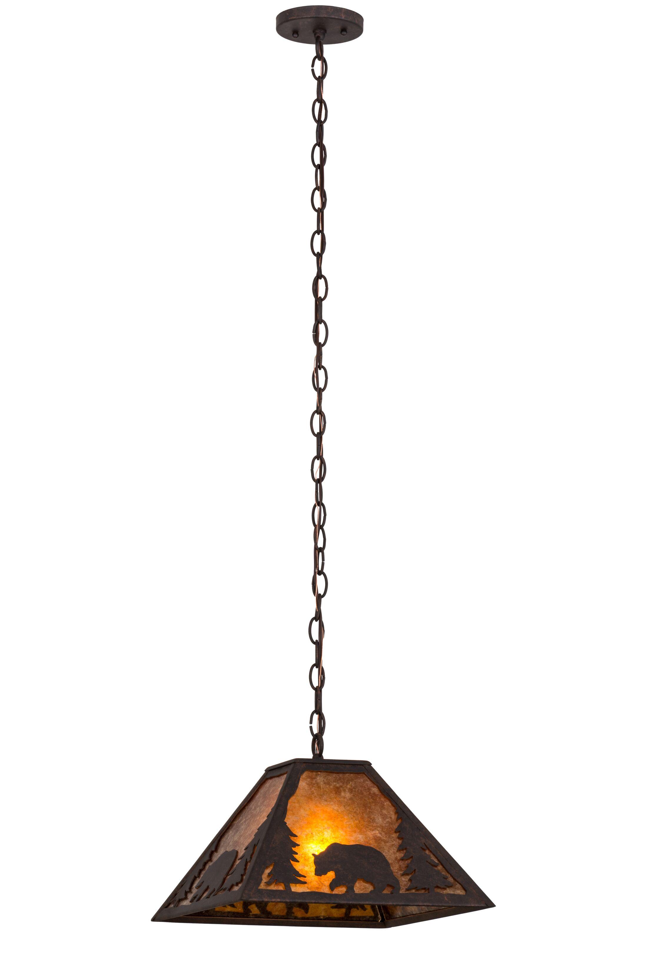 Lone Bear 1-Light Dome Pendant