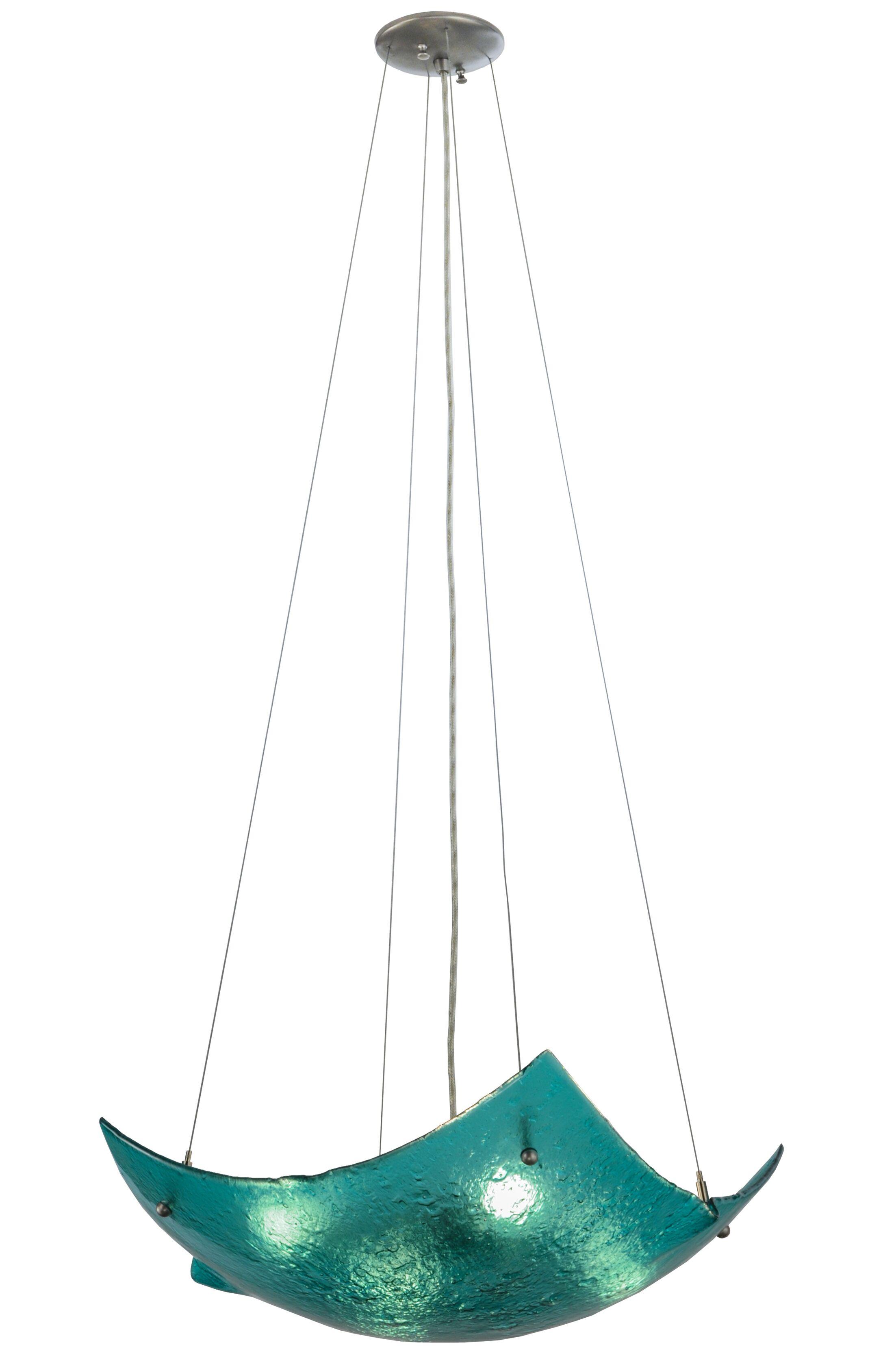Metro Fusion Aquamarine Crinkle 4-Light Novelty Chandelier