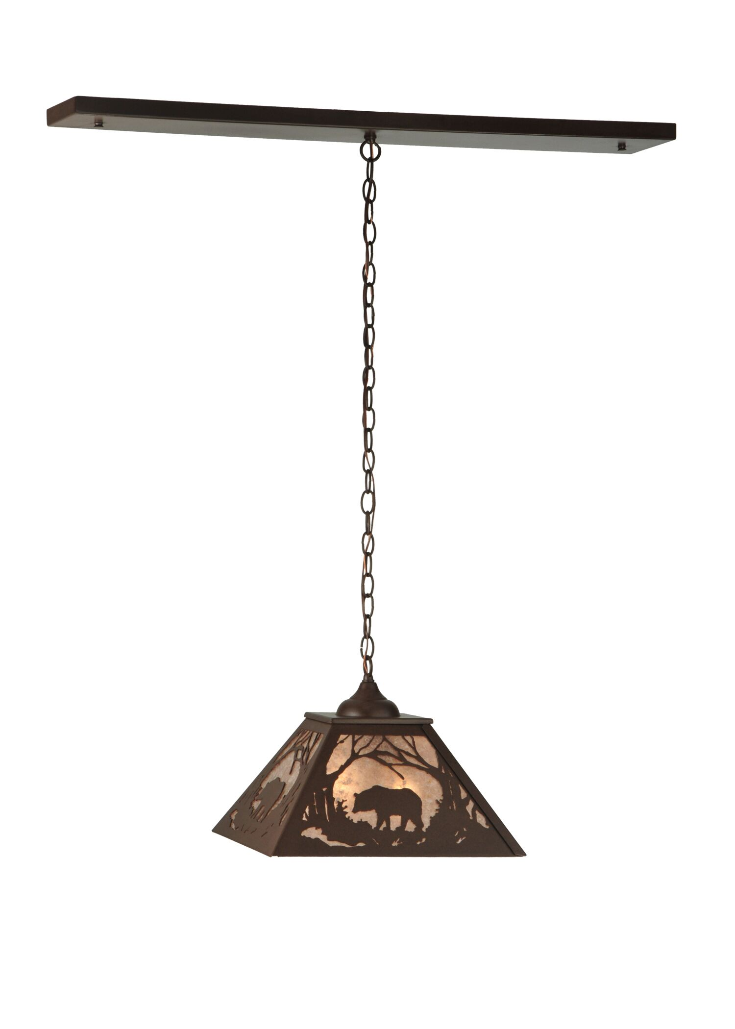 Bear at Dawn 2-Light Square/Rectangle Chandelier