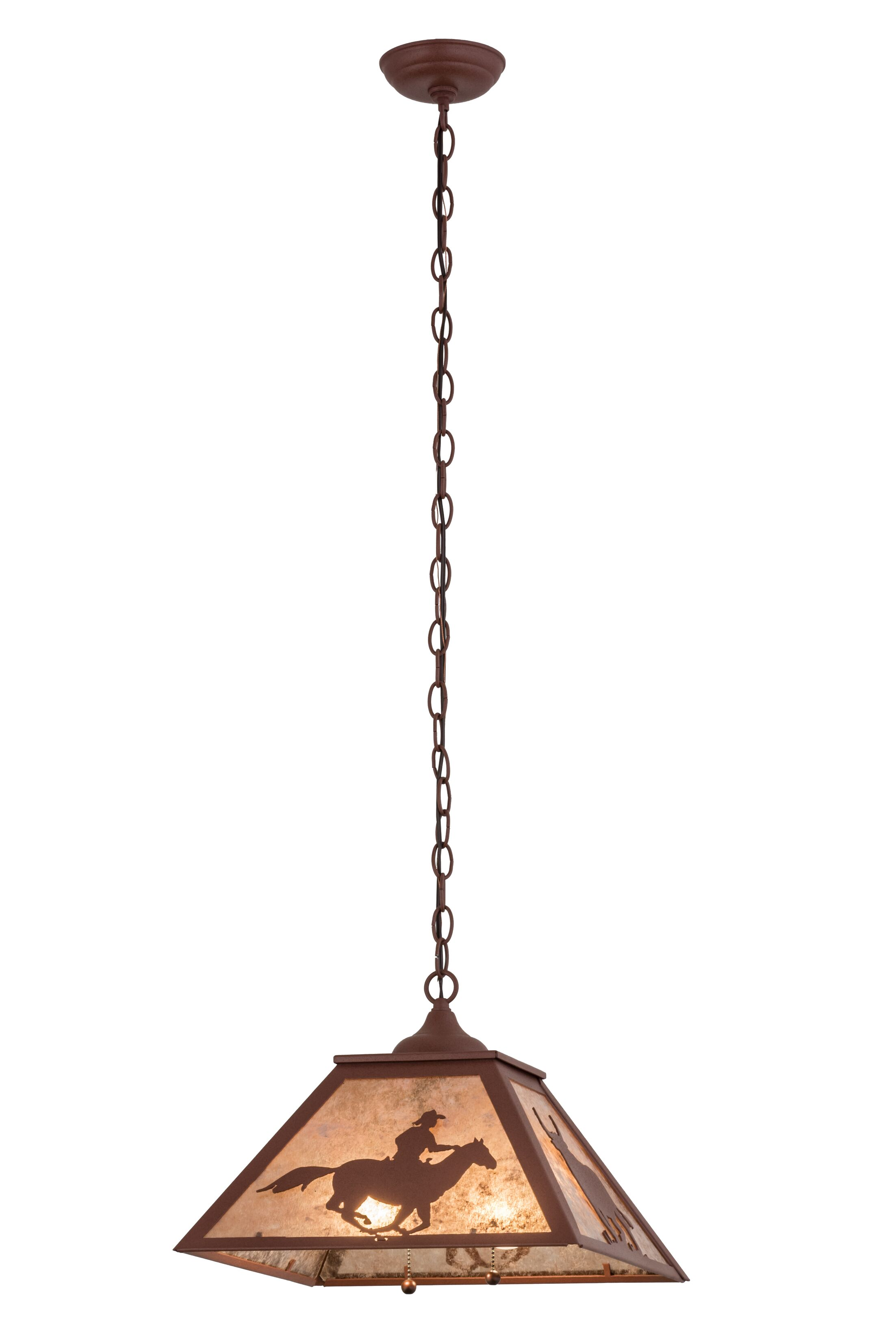Cowboy and Steer 2-Light Pendant