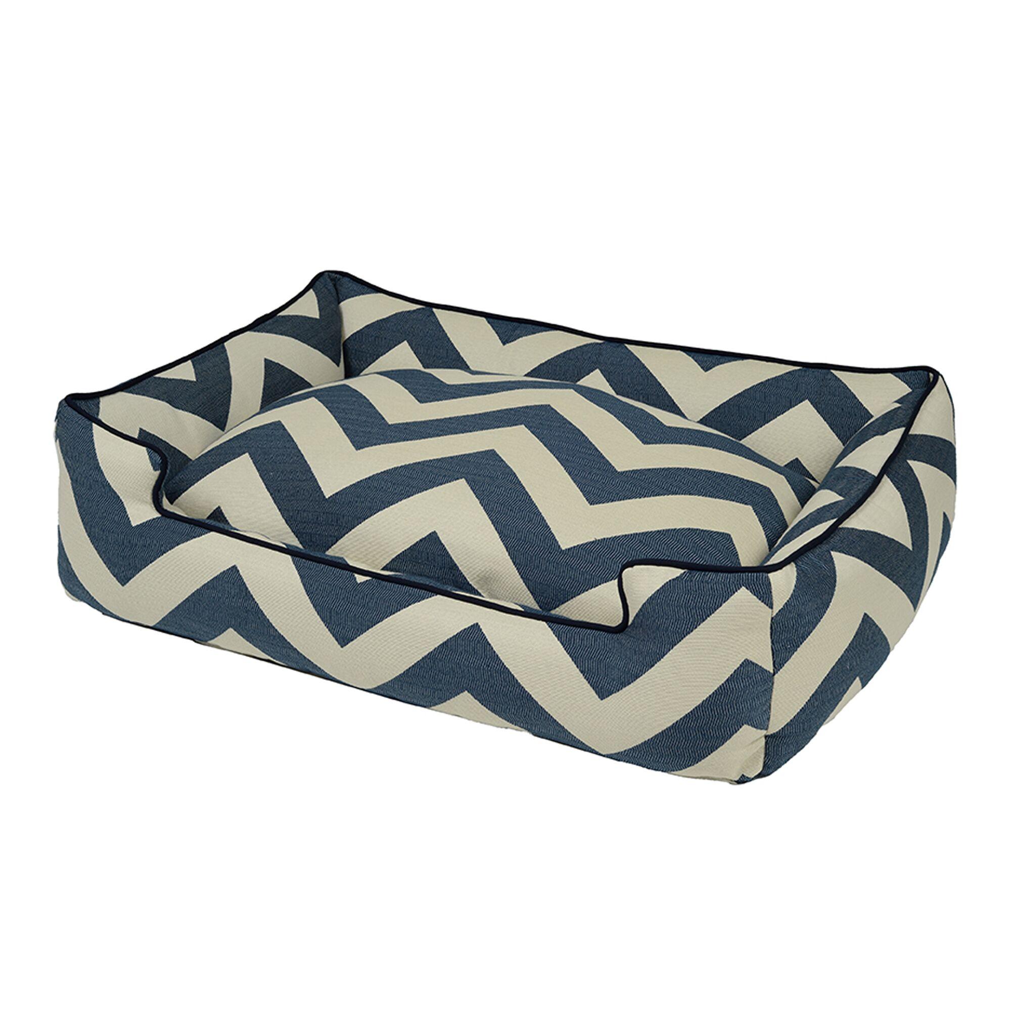 Spellbound Premium Cotton Blend Lounge Bolster Dog Bed Color: Blue, Size: Extra Large - 48