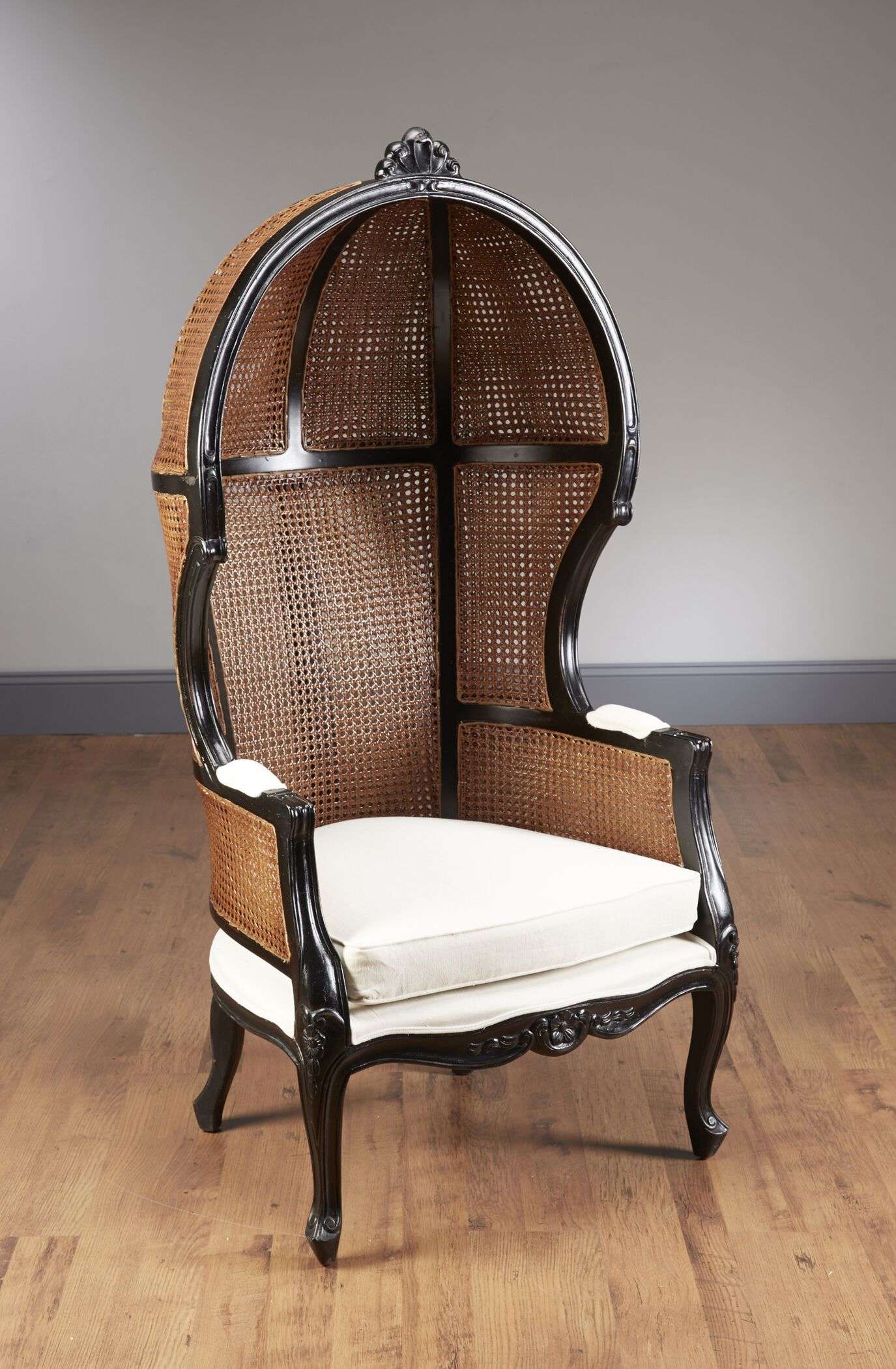 Bonifant Wicker Balloon Chair Finish: Black