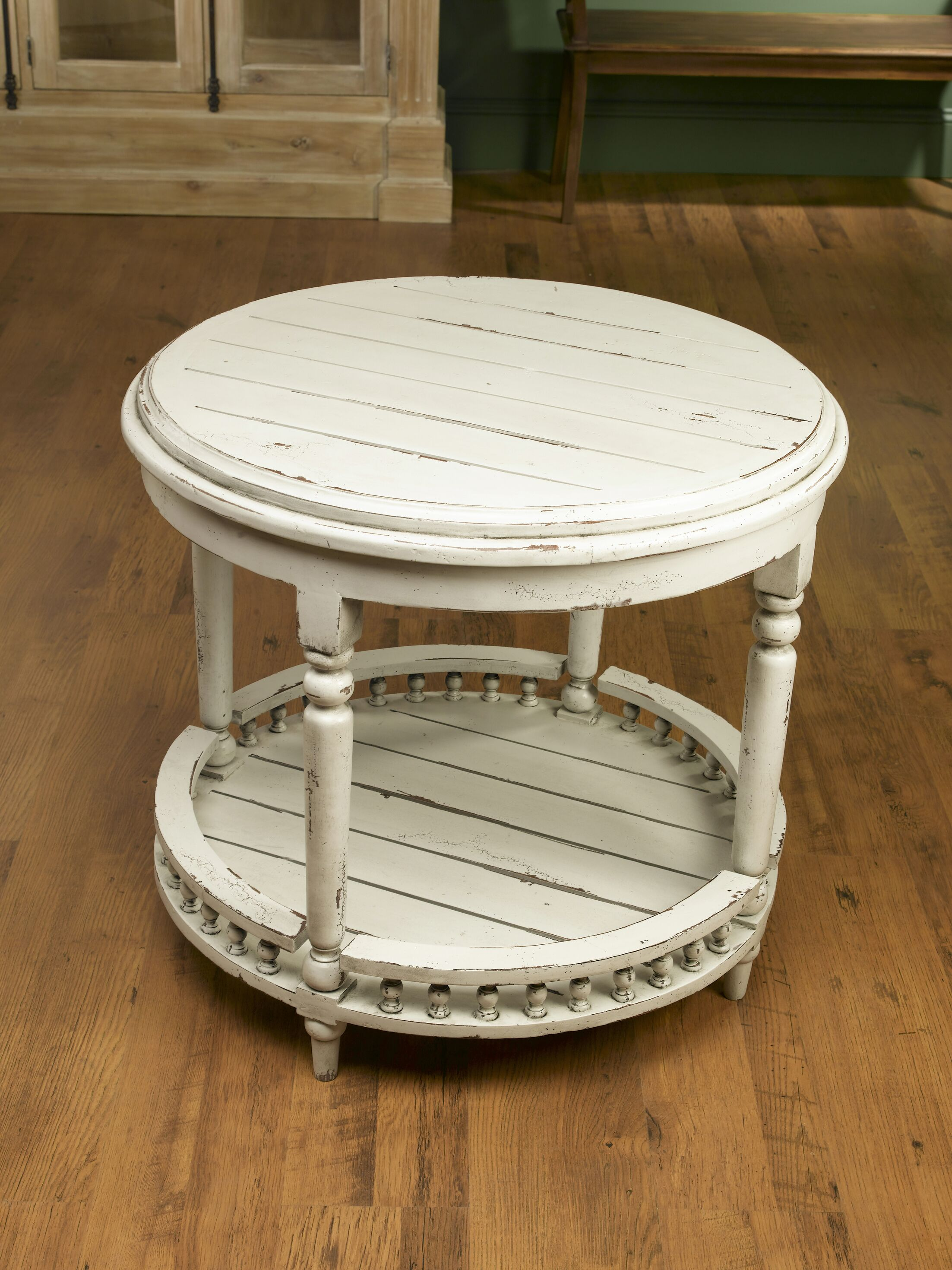 Round Plank Top End Table Color: Distressed White