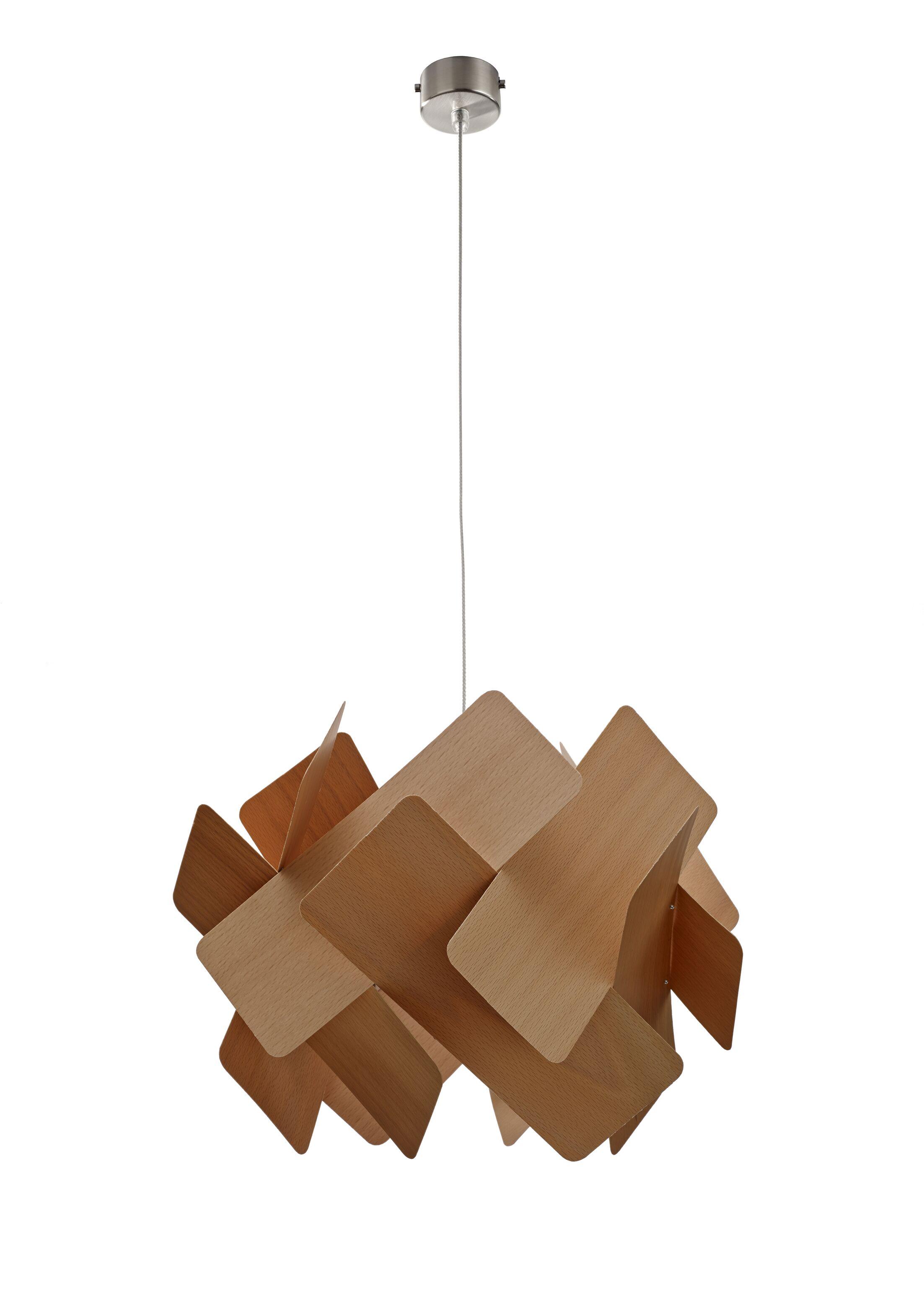 Escape 1-Light Pendant Bulb Type: GU24, Shade Color: Natural Beech
