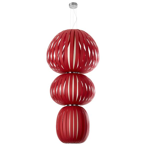 Totem 2-Light Geometric Chandelier Features: Dimmable Ballast, Finish: Red