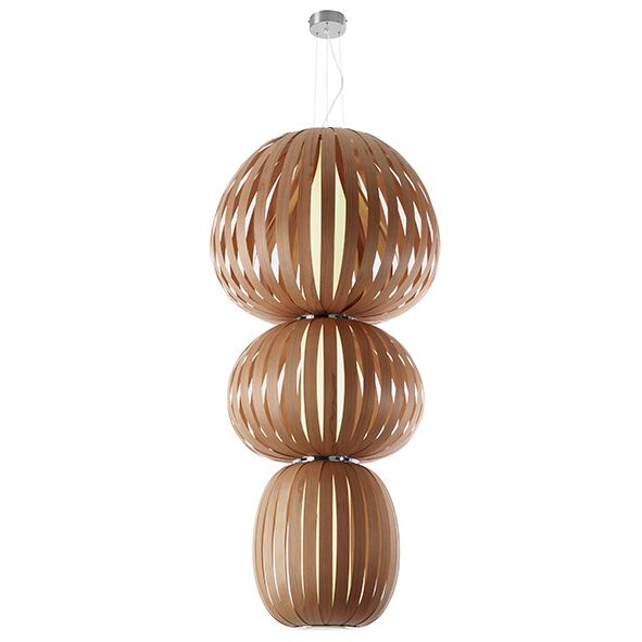 Totem 2-Light Geometric Chandelier Features: Dimmable Ballast, Finish: Natural Cherry