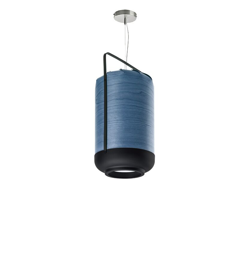 Chou 1-Light Cylinder Pendant Finish: Blue, Bulb Type: GU24 Base, Size: Small