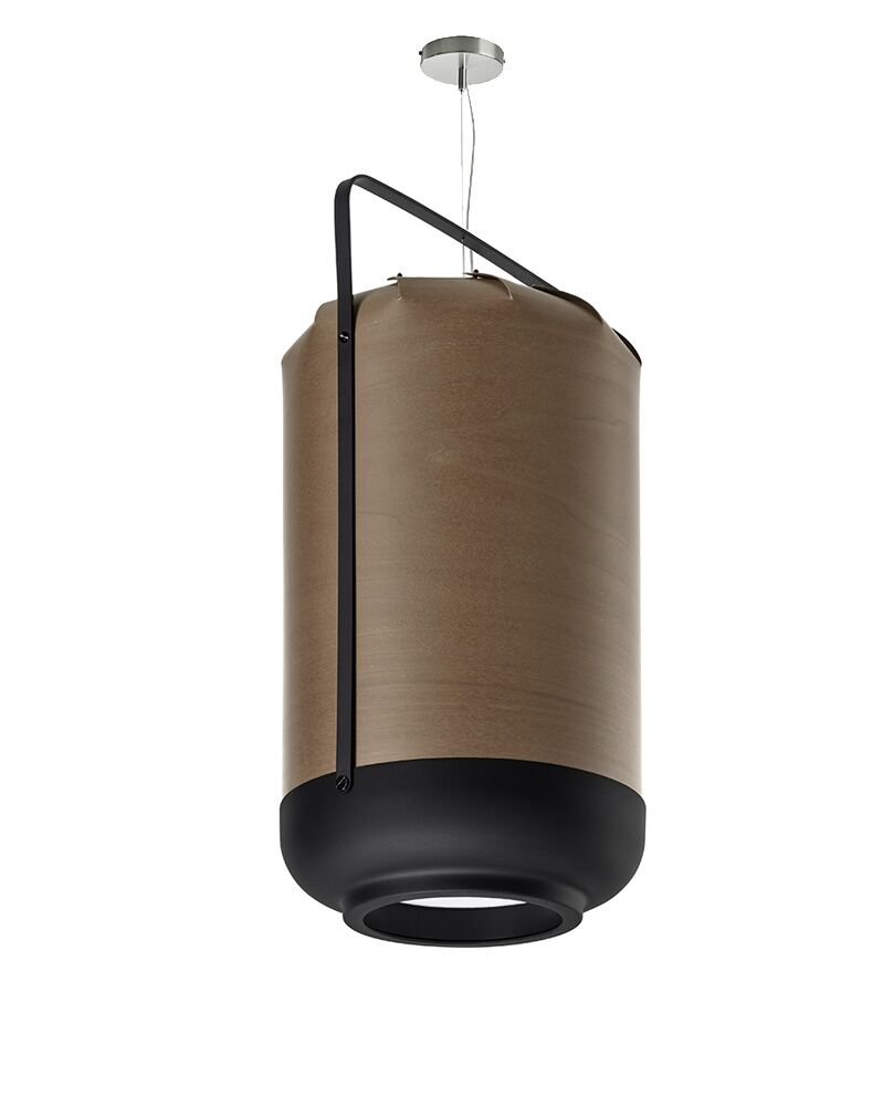Chou 1-Light Cylinder Pendant Finish: Natural Cherry, Bulb Type: GU24 Base, Size: Small