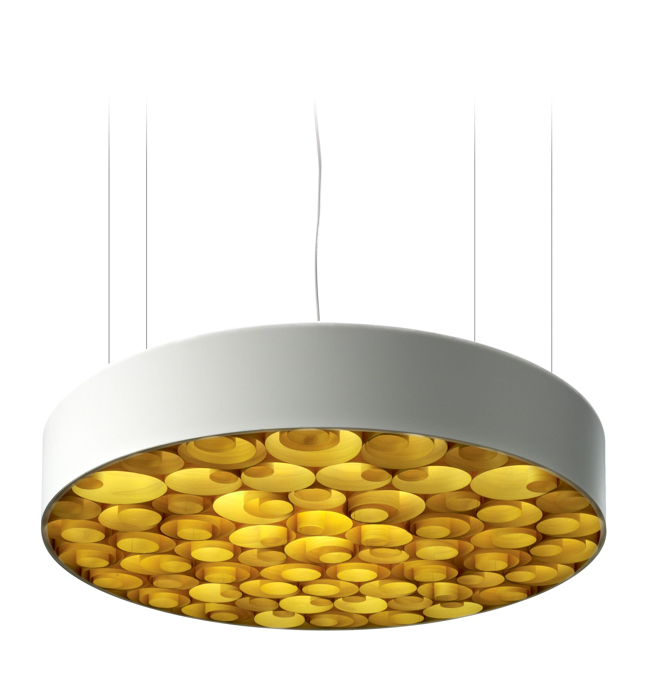 Spiro LED Drum Pendant Size: Large, Finish: White Outer, Shade Color: Yellow