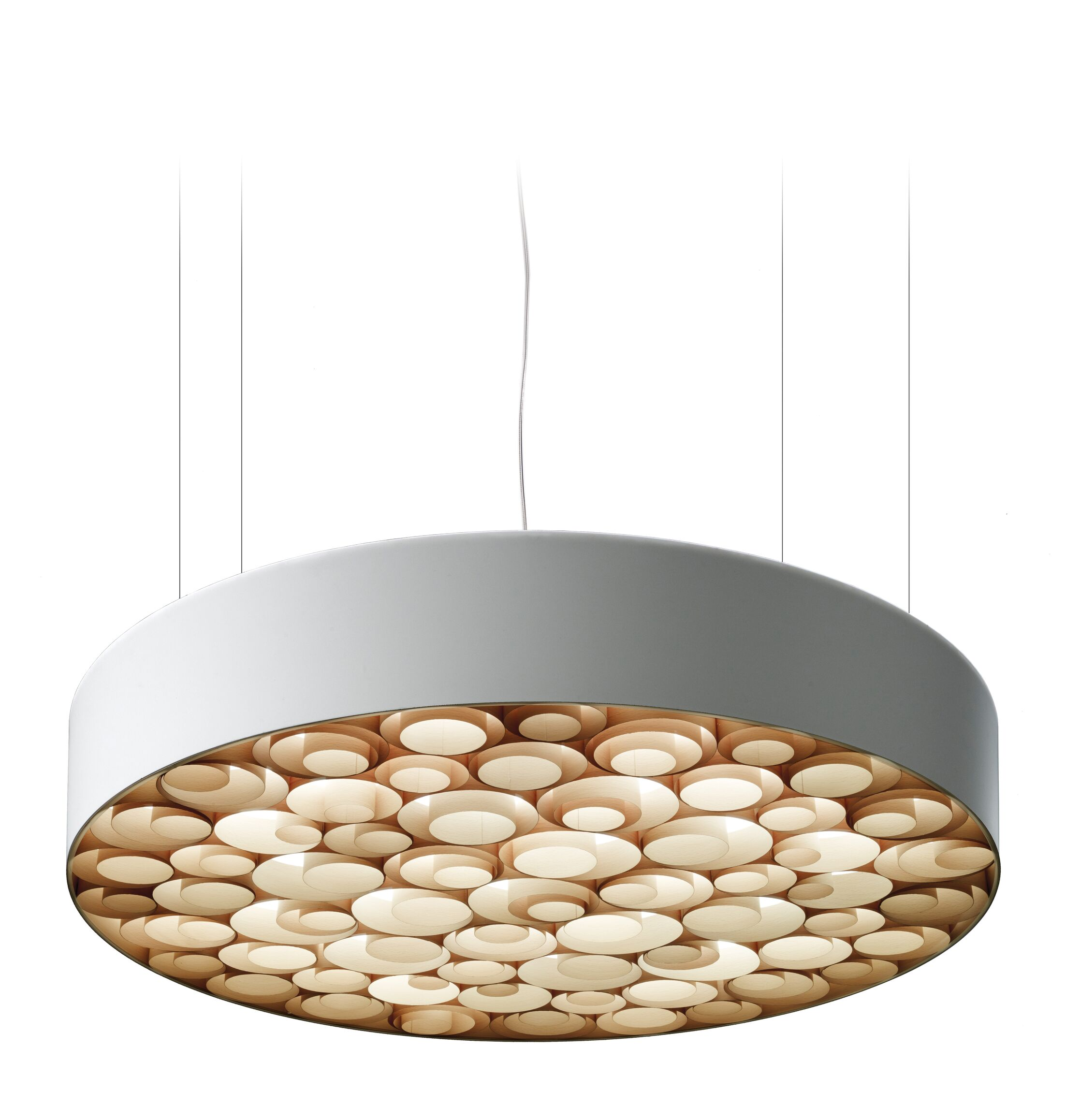 Spiro LED Drum Pendant Size: Large, Finish: White Outer, Shade Color: Natural Beech