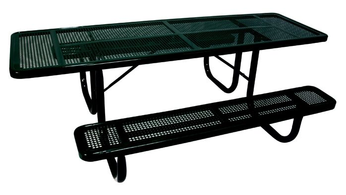 Extra Heavy Duty ADA Picnic Table with Perforated Pattern Finish: Black/Blue