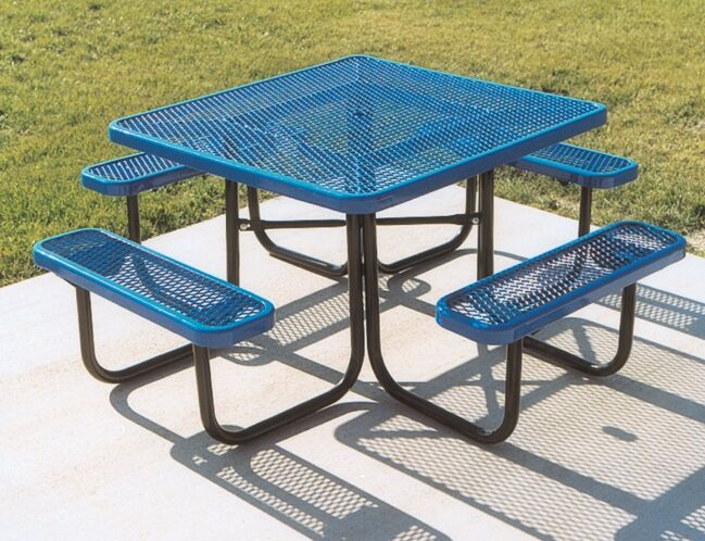 Square Picnic Table with Diamond Pattern Finish: Blue/Blue