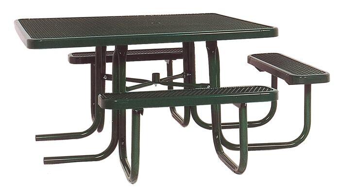 3-Seat ADA Square Picnic Table with Diamond Pattern Finish: Black/Blue