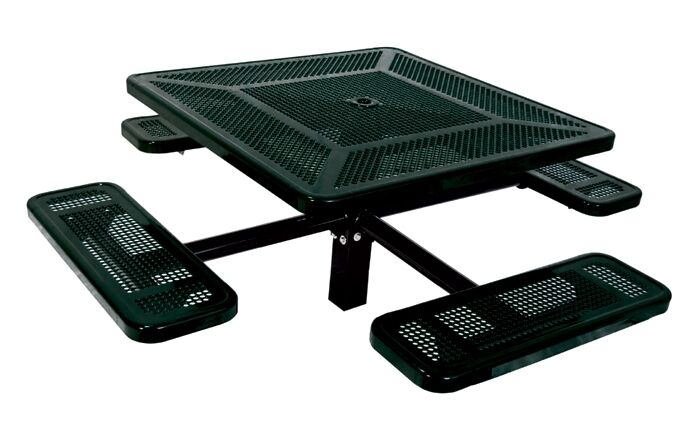 Single Pedestal Inground Square Picnic Table with Perforated Pattern Finish: Blue/Blue