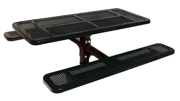 Single Pedestal Inground Picnic Table with Perforated Pattern Finish: Black/Blue, Table Size: 6'