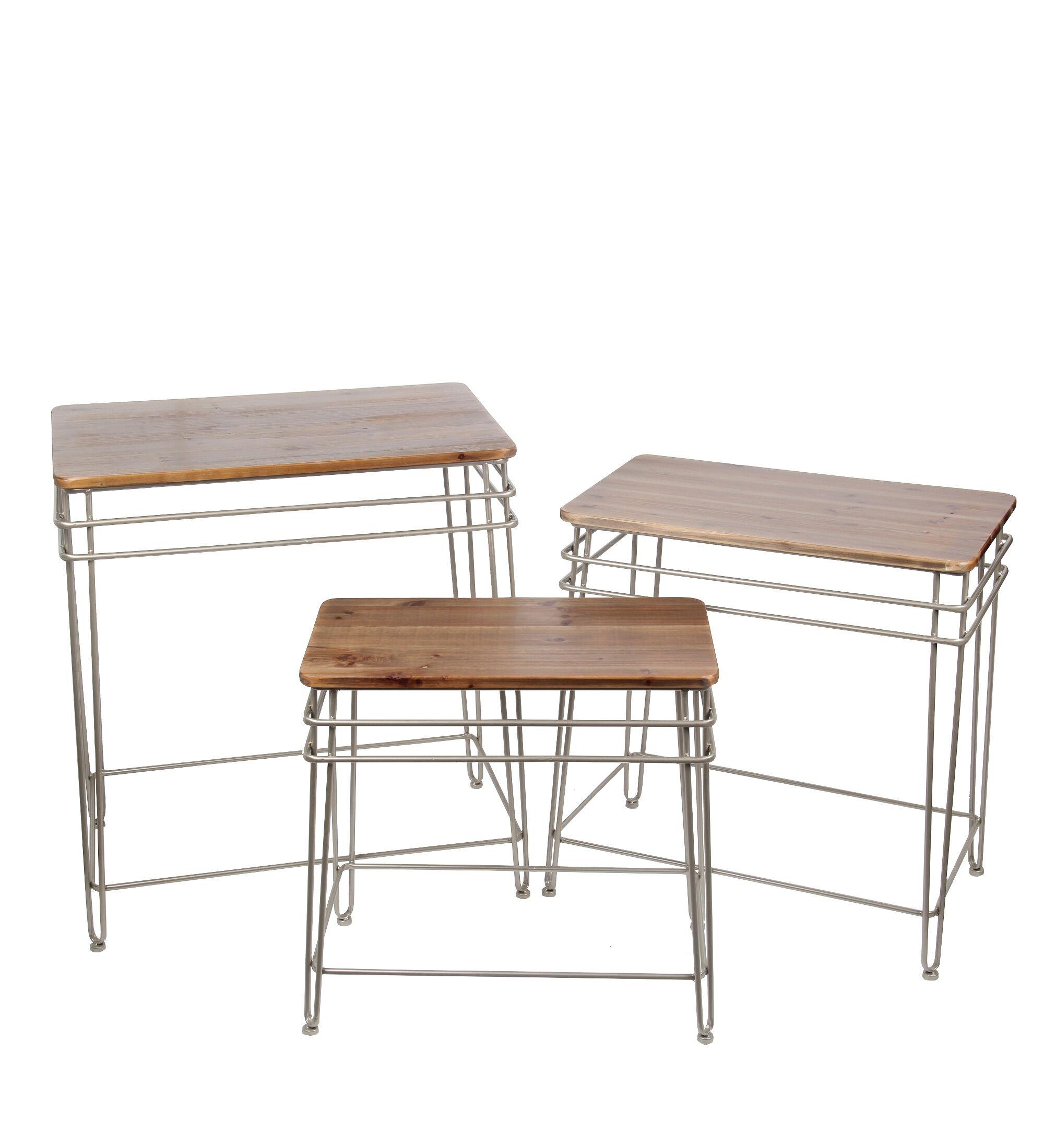 Zena Iron Wood 3 Piece Nesting Tables