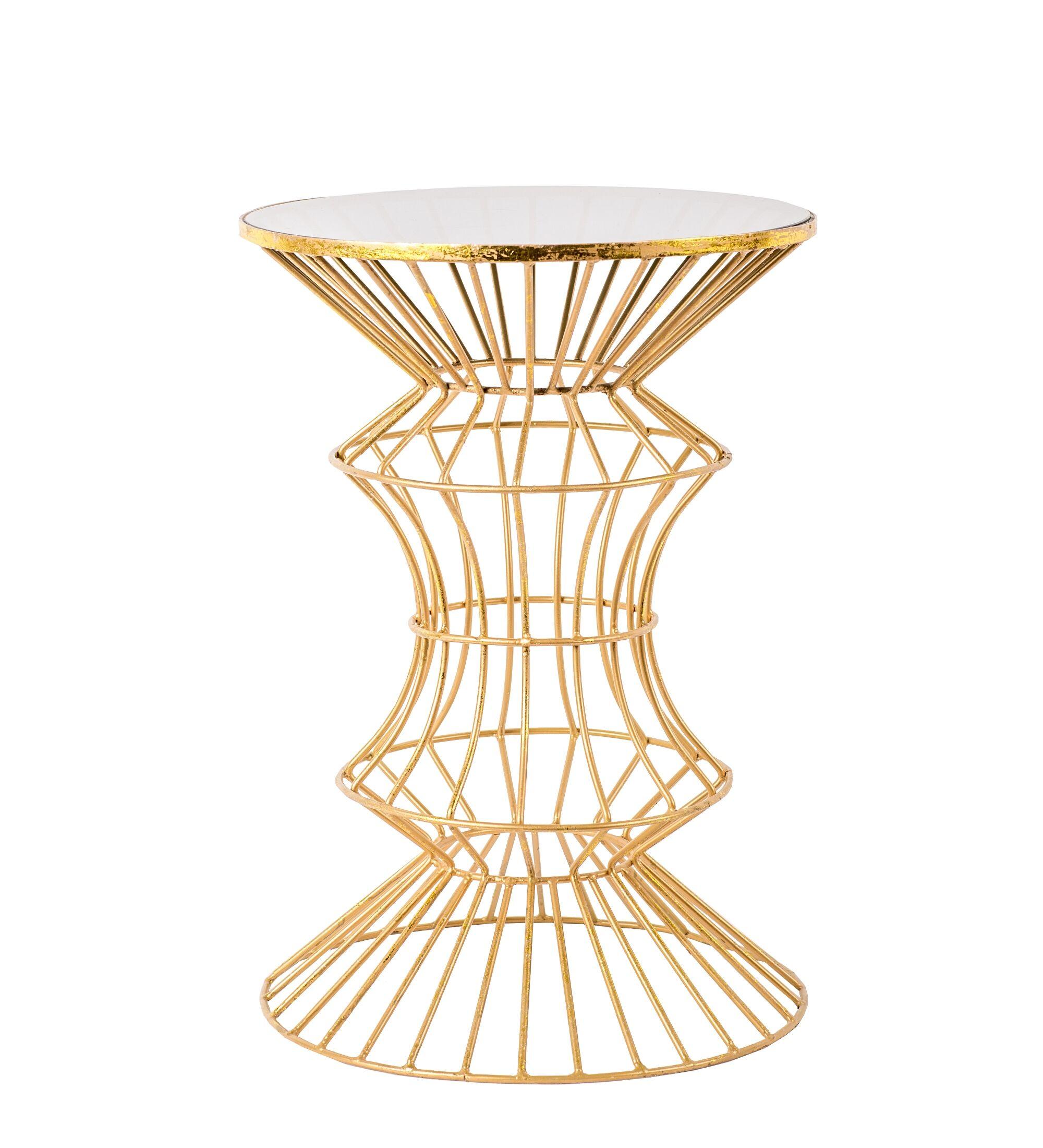 Alchiba Iron Wire End Table Color: Gold