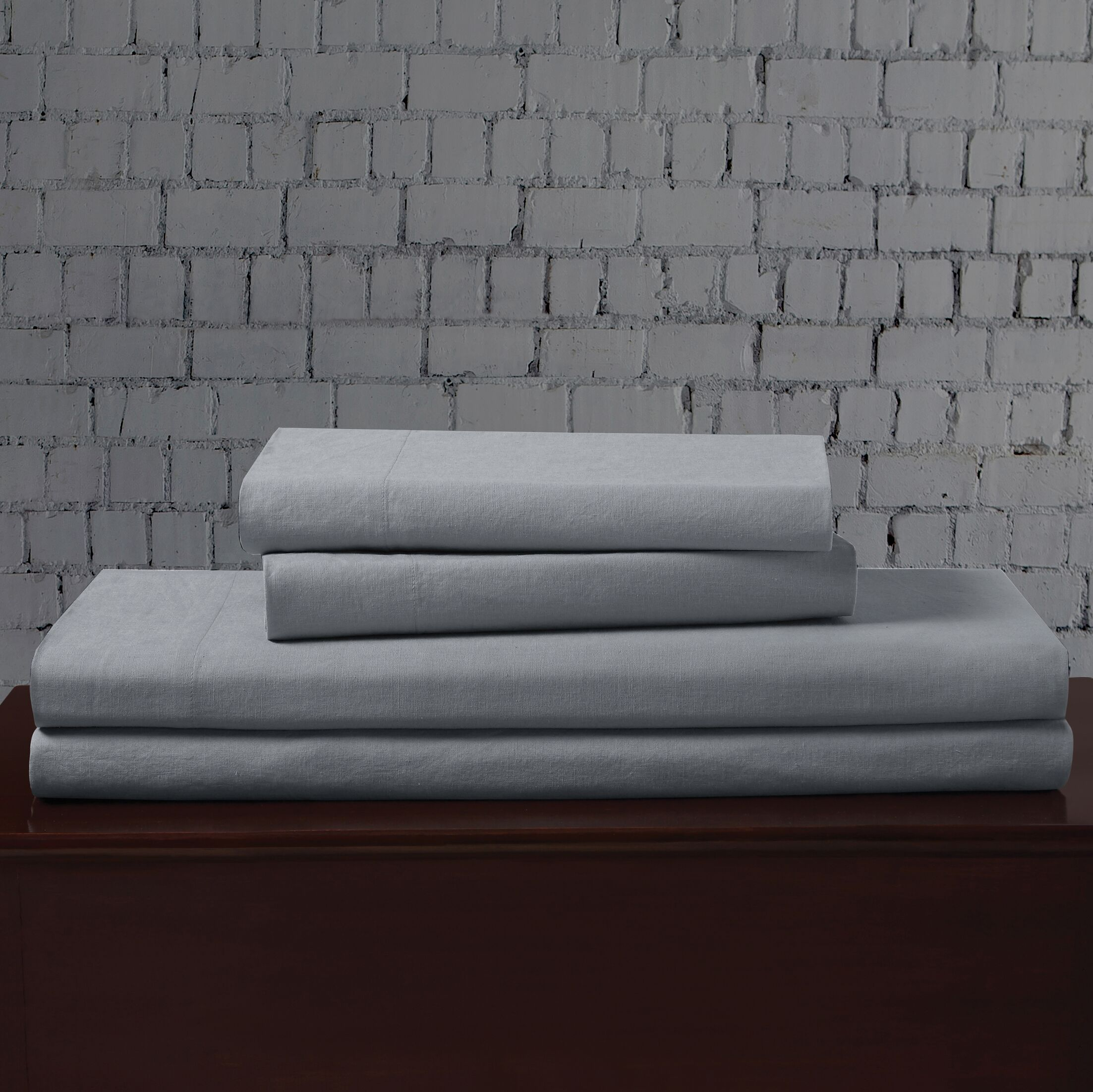 Linen Blend Sheet Set Size: King, Color: Light Blue