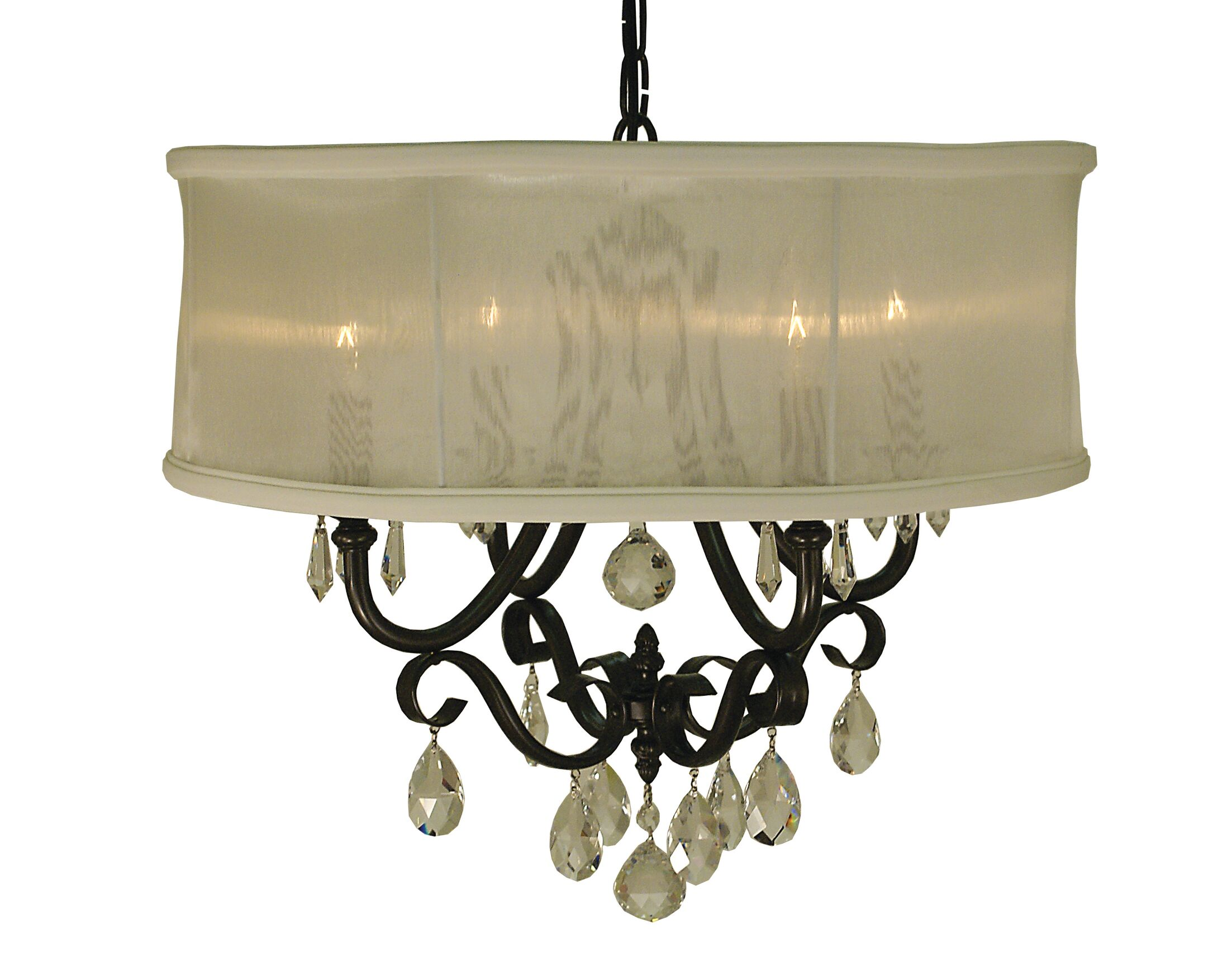 Liebestraum 4-Light Pendant Shade Color: Sheer White, Color: Mahogany Bronze