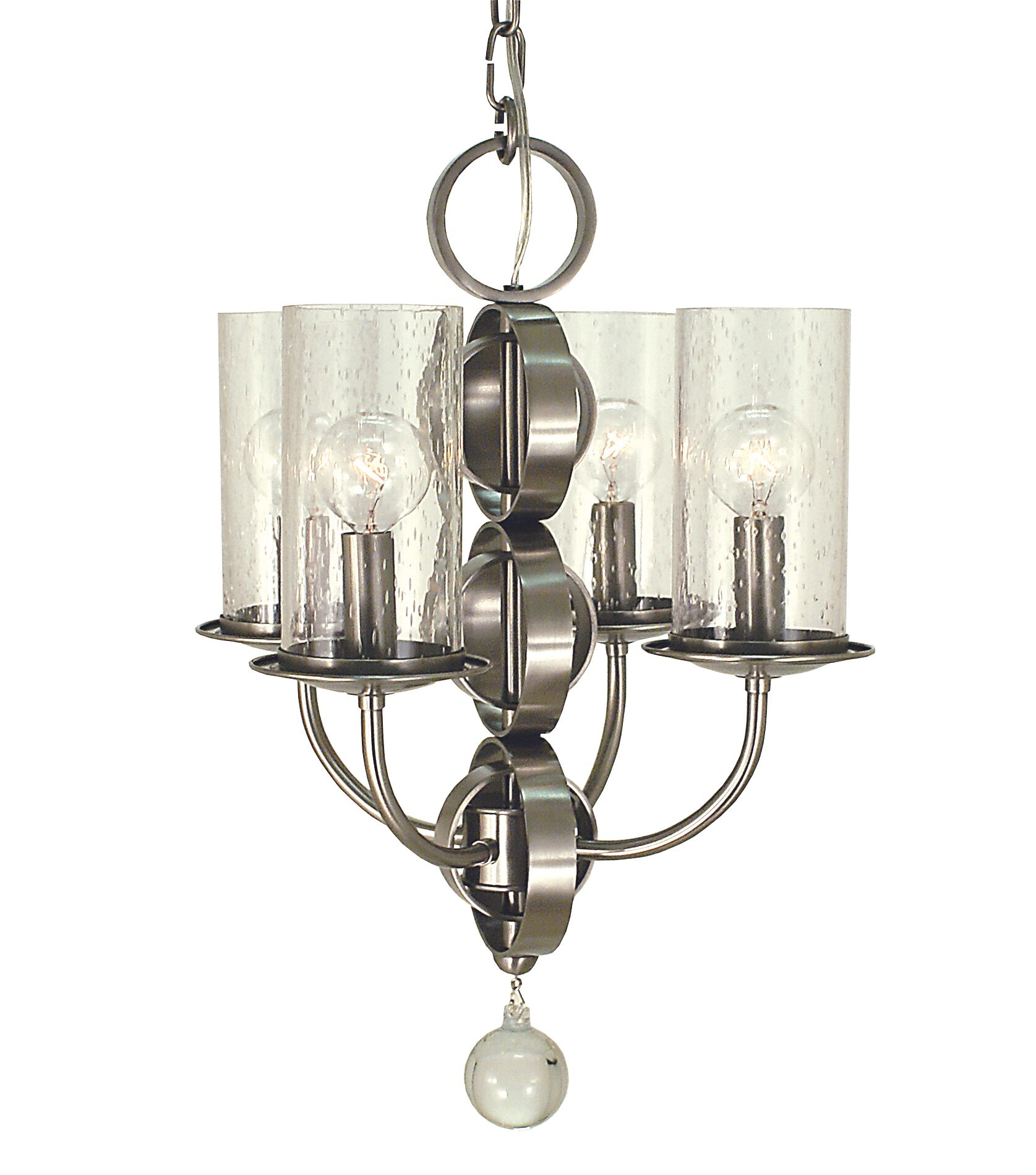 Compass 4-Light Shaded Chandelier Color: Brushed Nickel with Frosted Glass