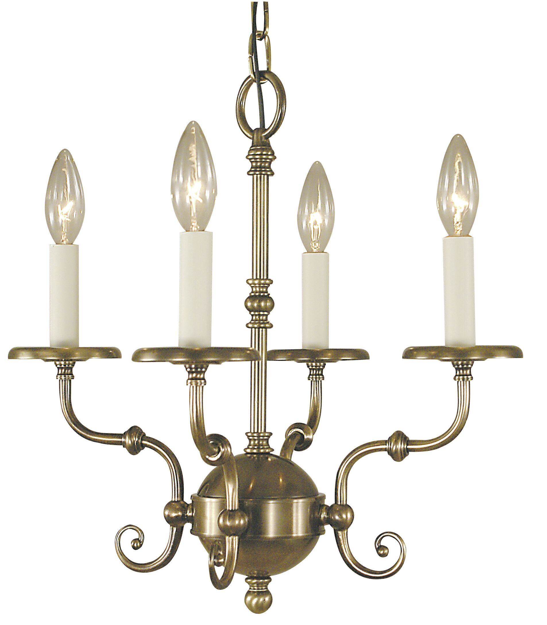 Jamestown 4-Light Candle Style Chandelier Color: Antique Brass