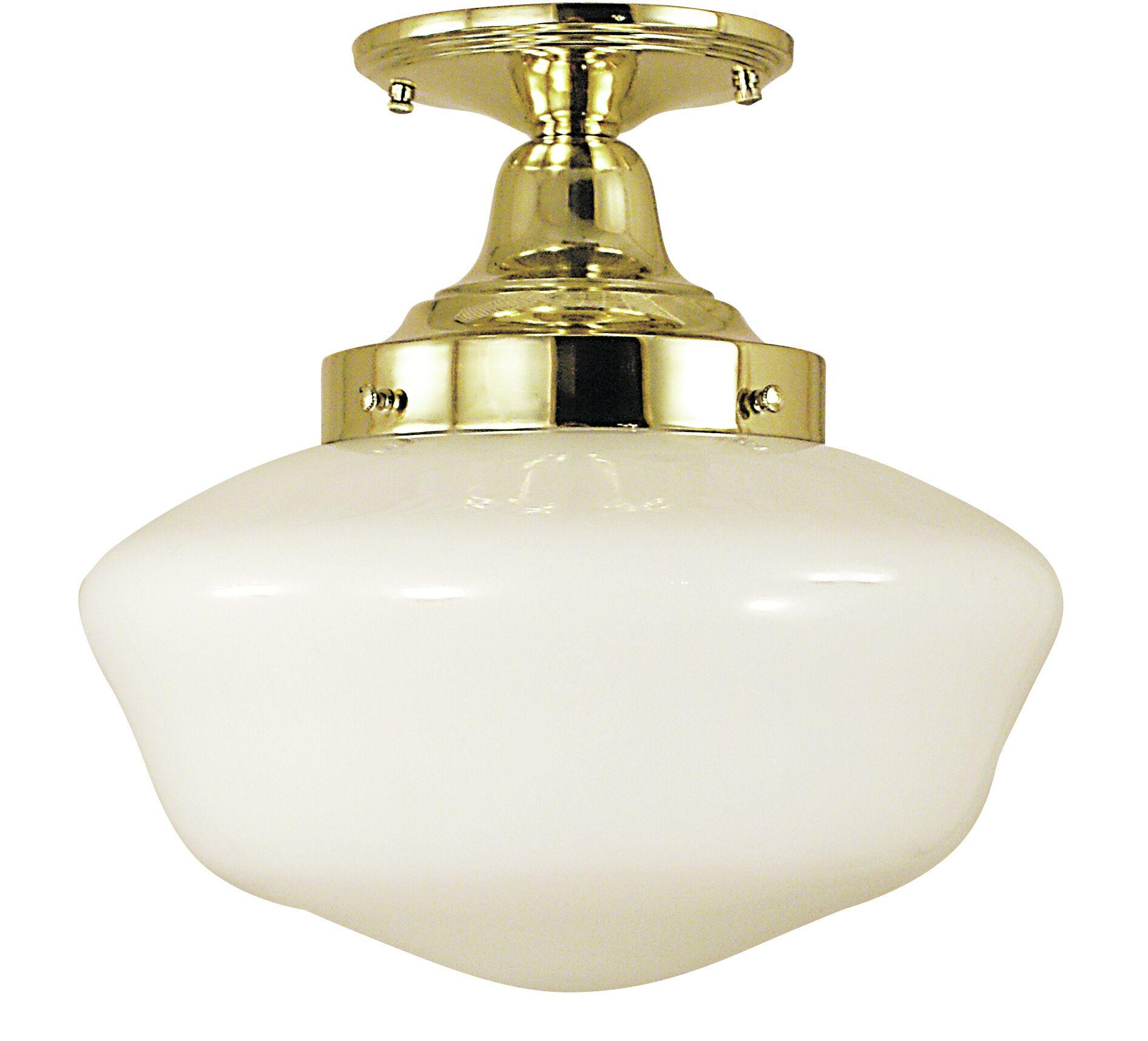 Taylor 1-Light Semi Flush Mount Color: Brushed Nickel, Size: 12