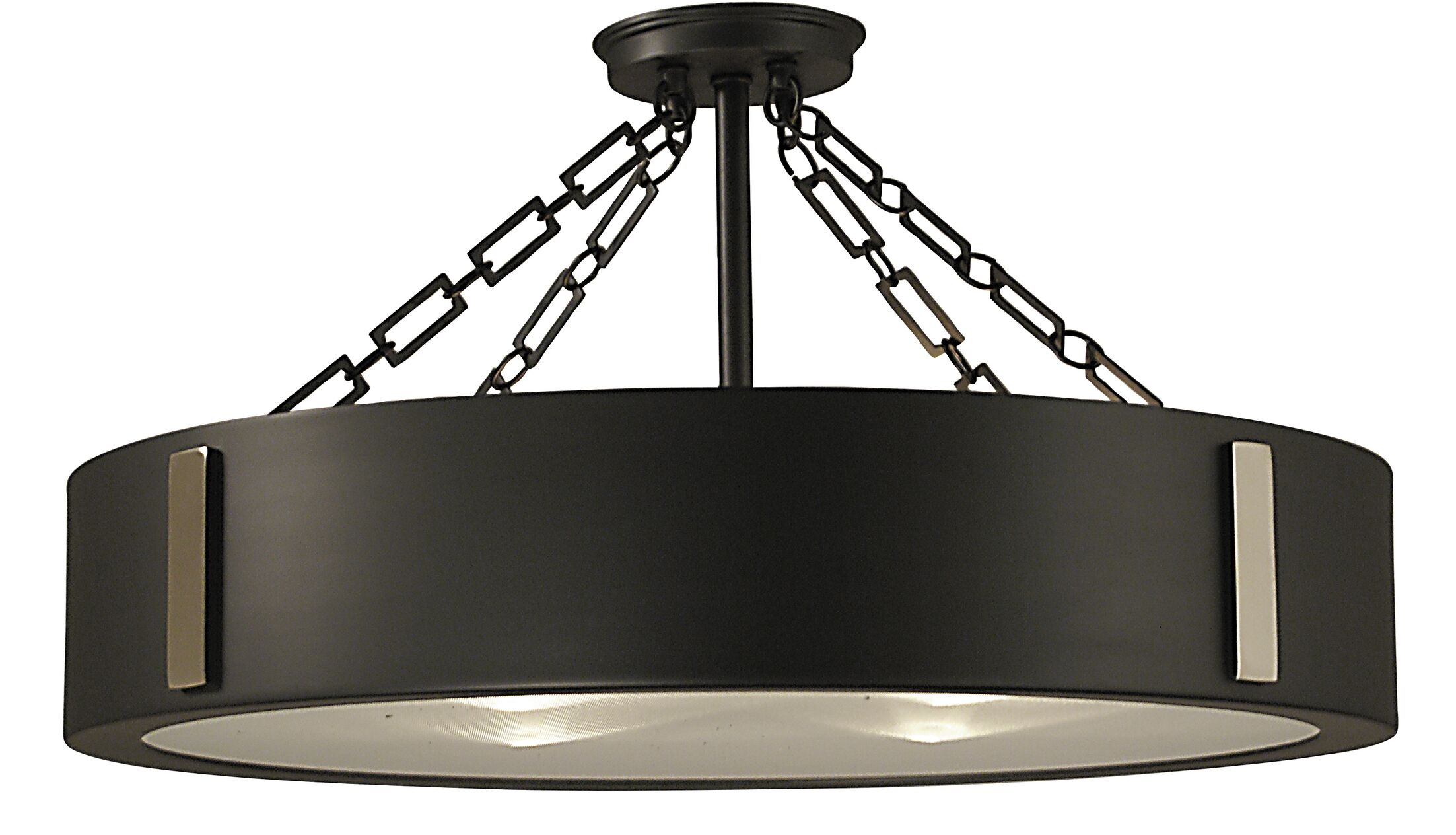 Oracle 4-Light Semi Flush Mount Color: Satin Pewter and Polished Nickel