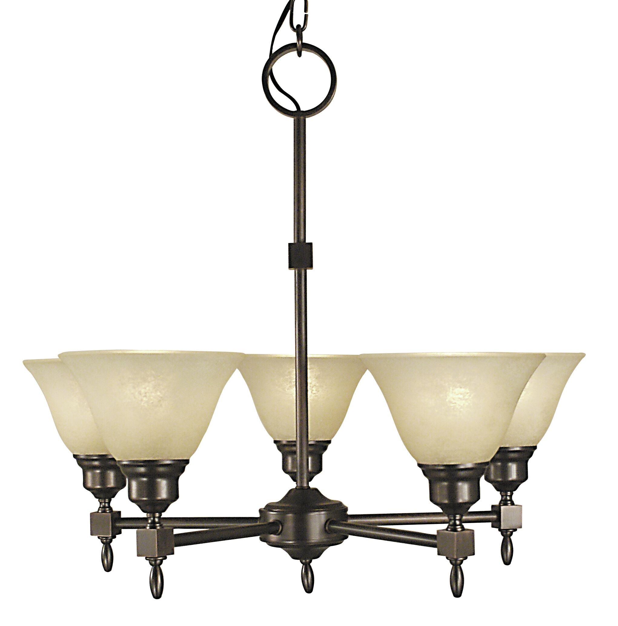 Taylor 5-Light Shaded Chandelier Shade Color: White, Color: Mahogany Bronze