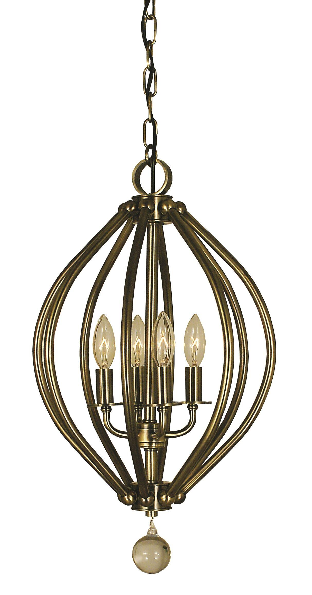 Dewdrop 4-Light Foyer Pendant Color: Antique Brass