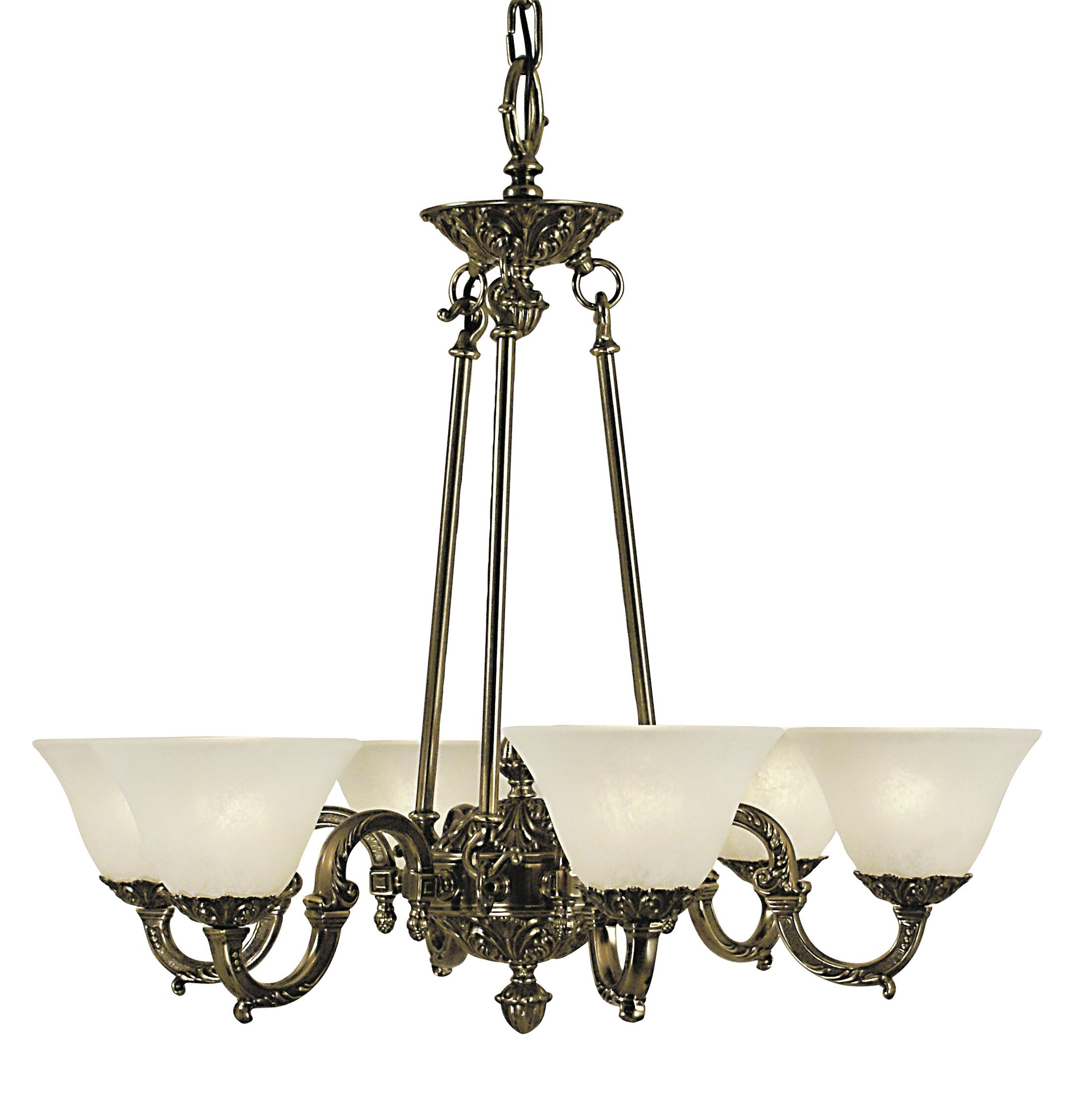 Napoleonic 6-Light Shaded Chandelier Shade Color: White, Color: Mahogany Bronze
